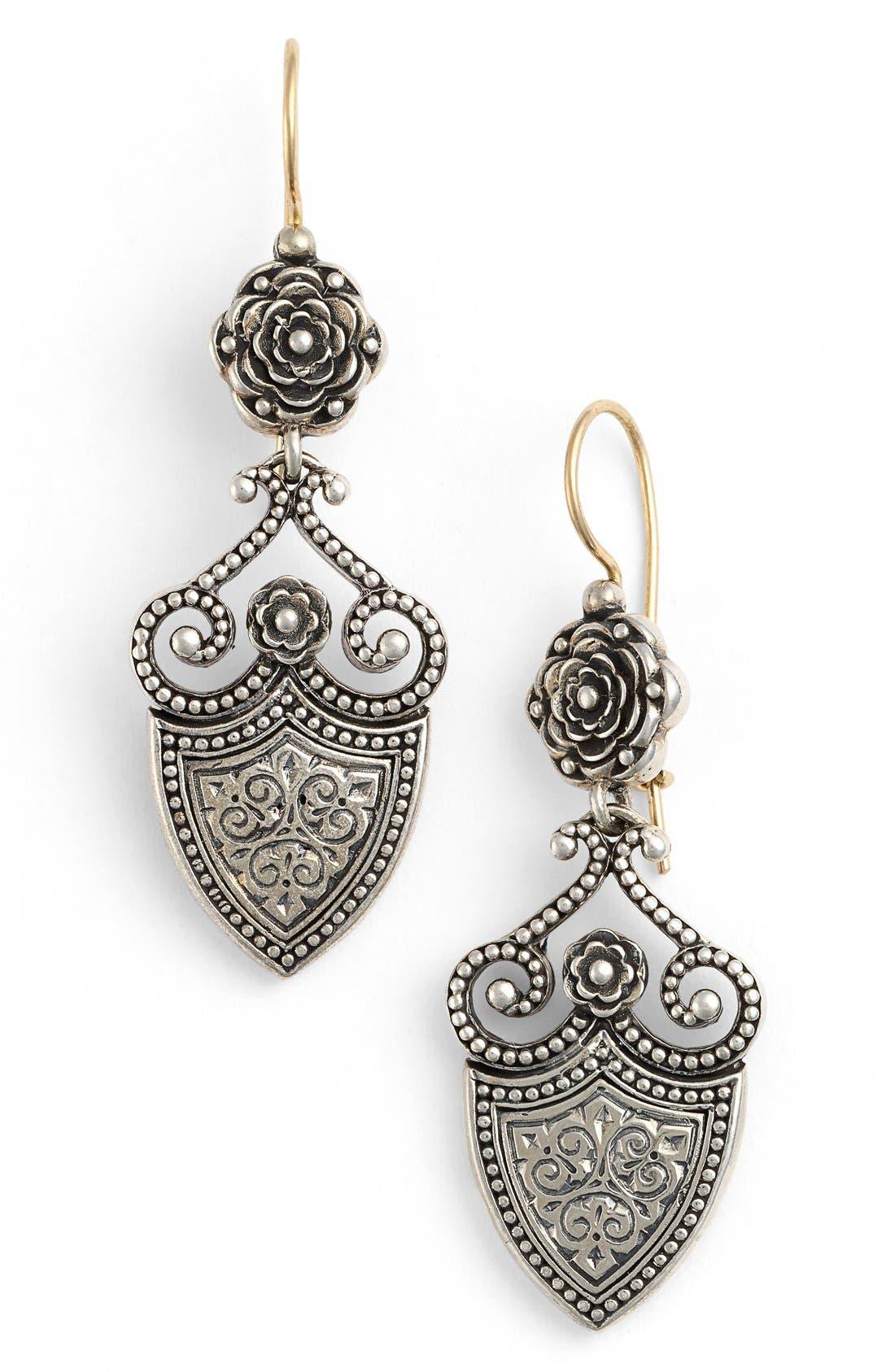 'Silver Classics' Shield Drop Earrings,                         Main,                         color, Silver