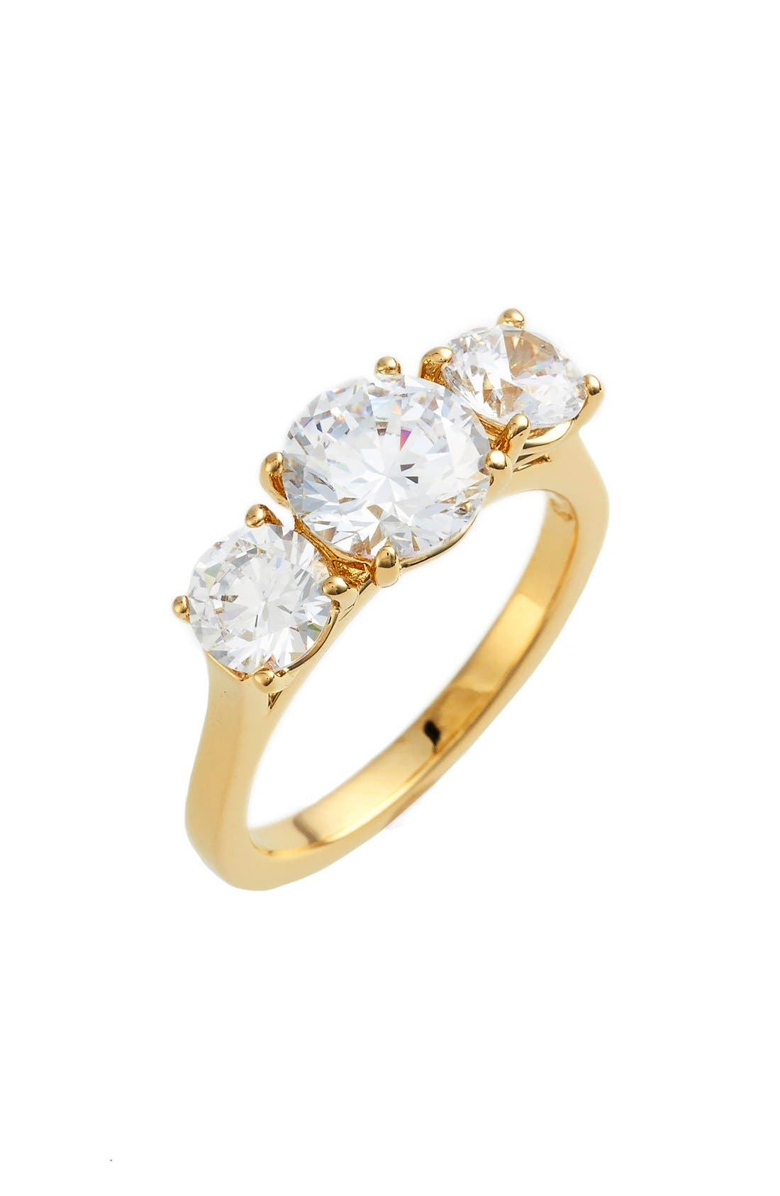 3-Stone Cubic Zirconia Ring,                         Main,                         color, Gold