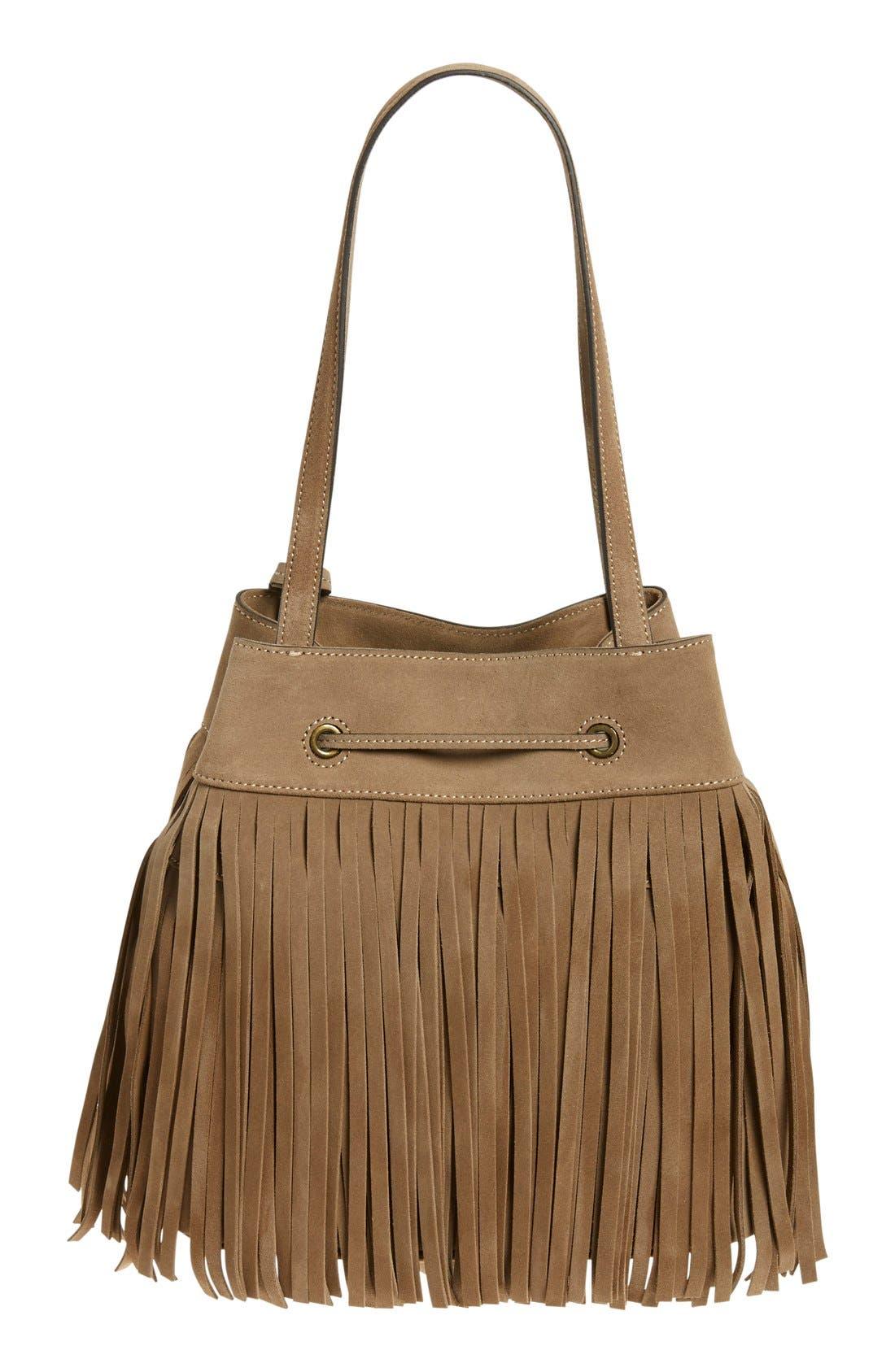 'Heidi' Fringe Suede Bucket Bag,                             Alternate thumbnail 3, color,                             Grey