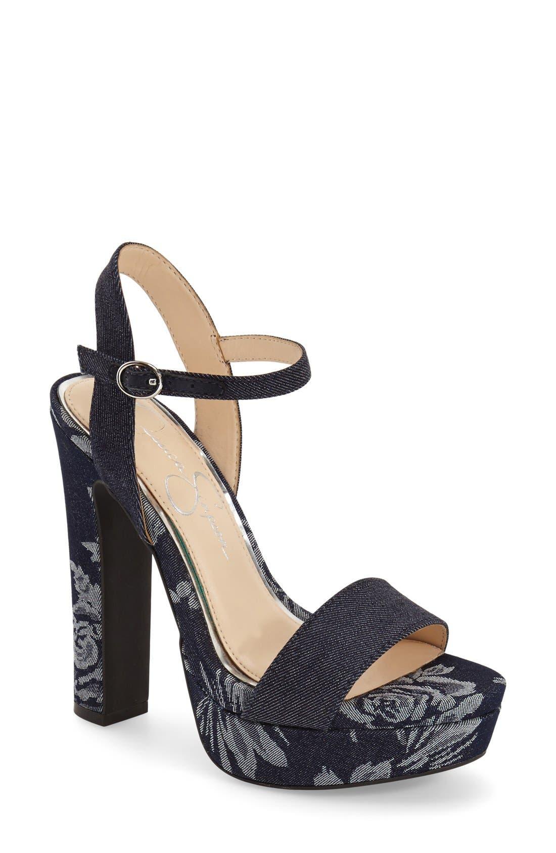 'Blaney' Platform Sandal,                         Main,                         color, Indigo/ Indigo Fabric