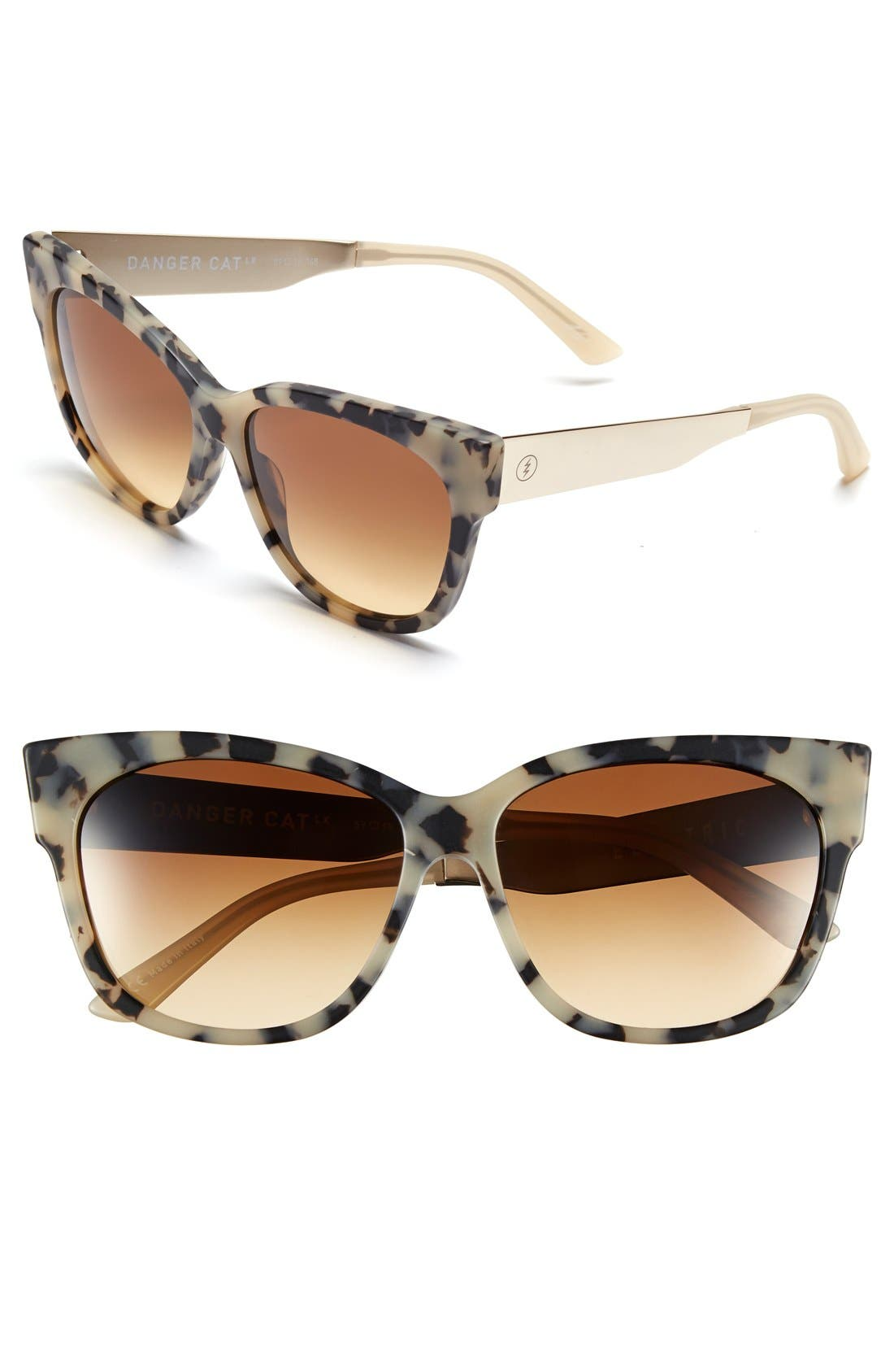 'Danger Cat LX' 59mm Cat Eye Sunglasses,                         Main,                         color, Matte Nude Tort/ Bronze