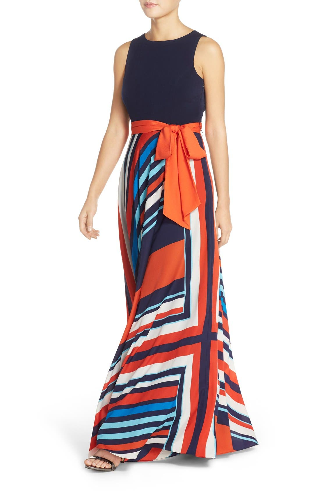 Jersey & Stripe Maxi Dress,                             Alternate thumbnail 4, color,                             Navy/ Red