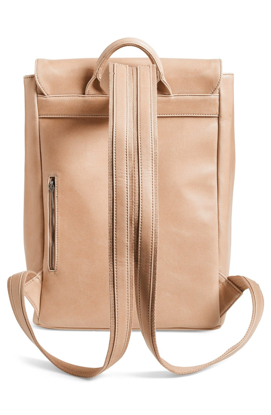 'Fabi' Faux Leather Laptop Backpack,                             Alternate thumbnail 3, color,                             Cardamom