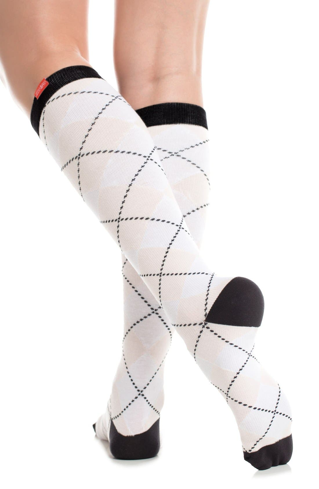 Argyle Graduated Compression Trouser Socks,                             Alternate thumbnail 3, color,                             White/ Blush