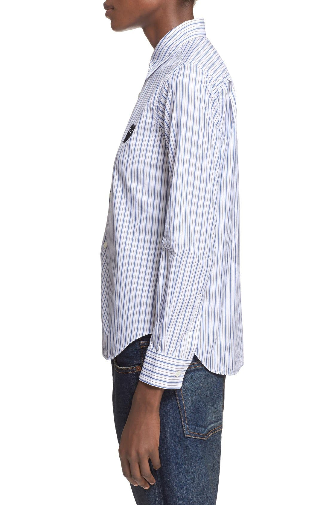 Comme des Garçons PLAY Stripe Shirt,                             Alternate thumbnail 3, color,                             Blue