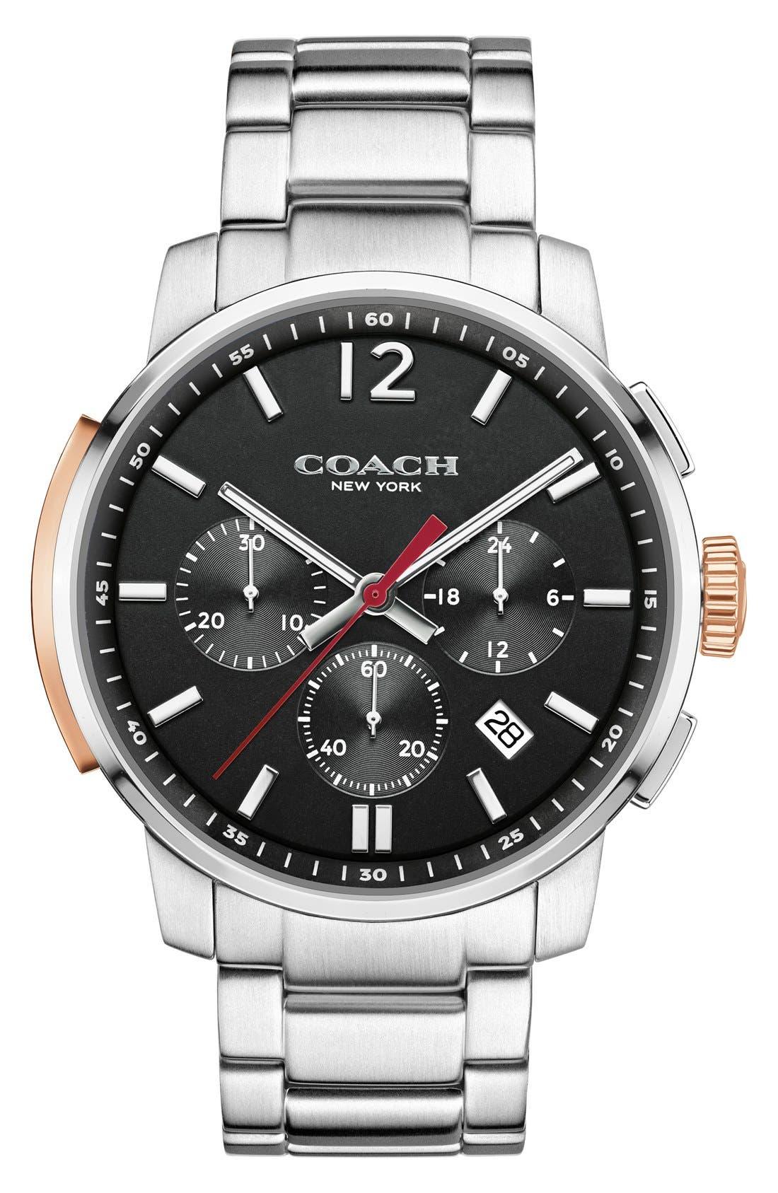 'Bleecker' Chronograph Bracelet Watch, 44mm,                         Main,                         color, Silver/ Black
