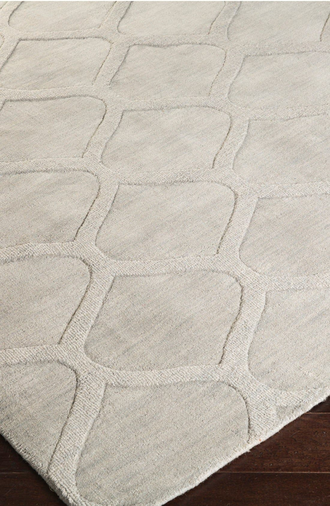 'Mystique' Hand Loomed Wool Rug,                             Alternate thumbnail 3, color,                             Grey
