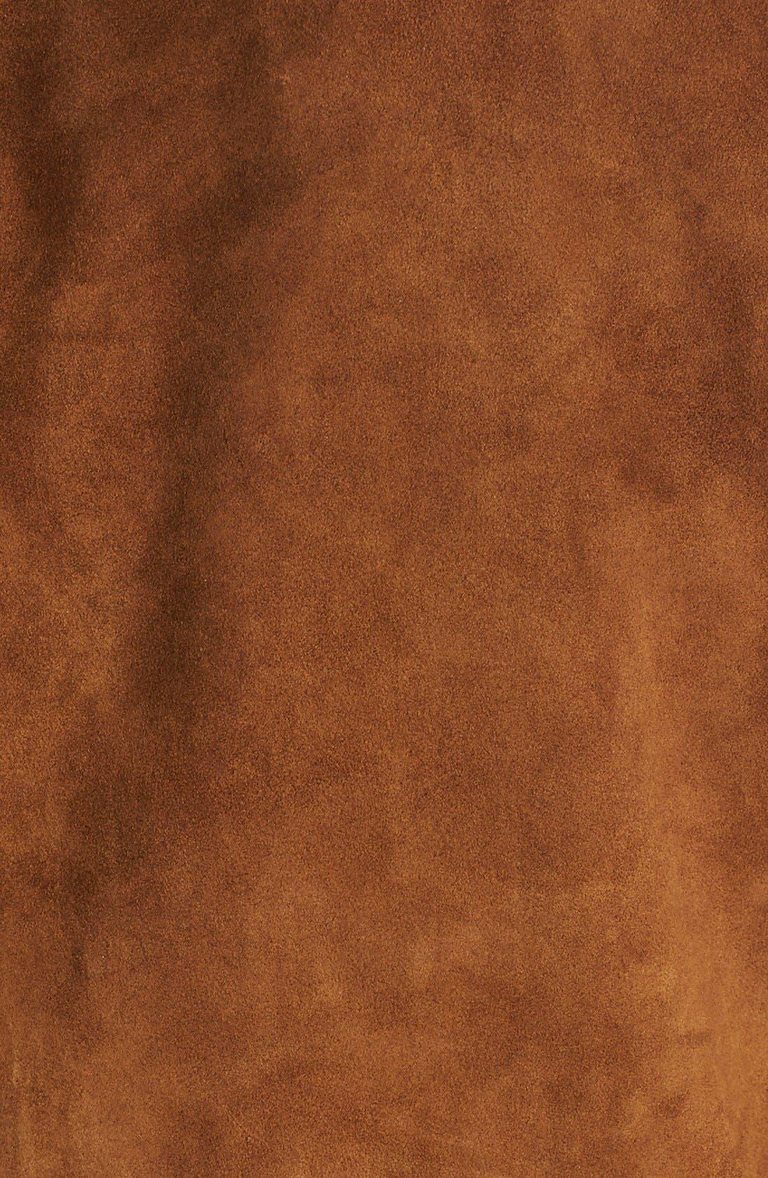 'Blaine' Studded Suede Jacket,                             Alternate thumbnail 5, color,                             Tobacco