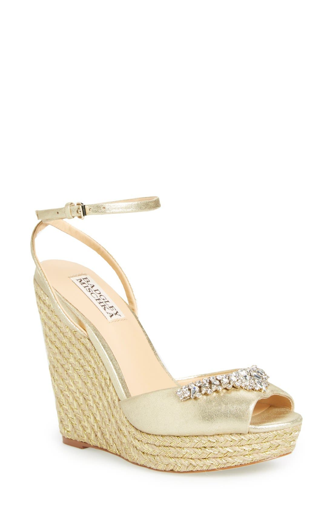 'Annabel' Crystal Embellished Wedge,                             Main thumbnail 1, color,                             Gold Suede