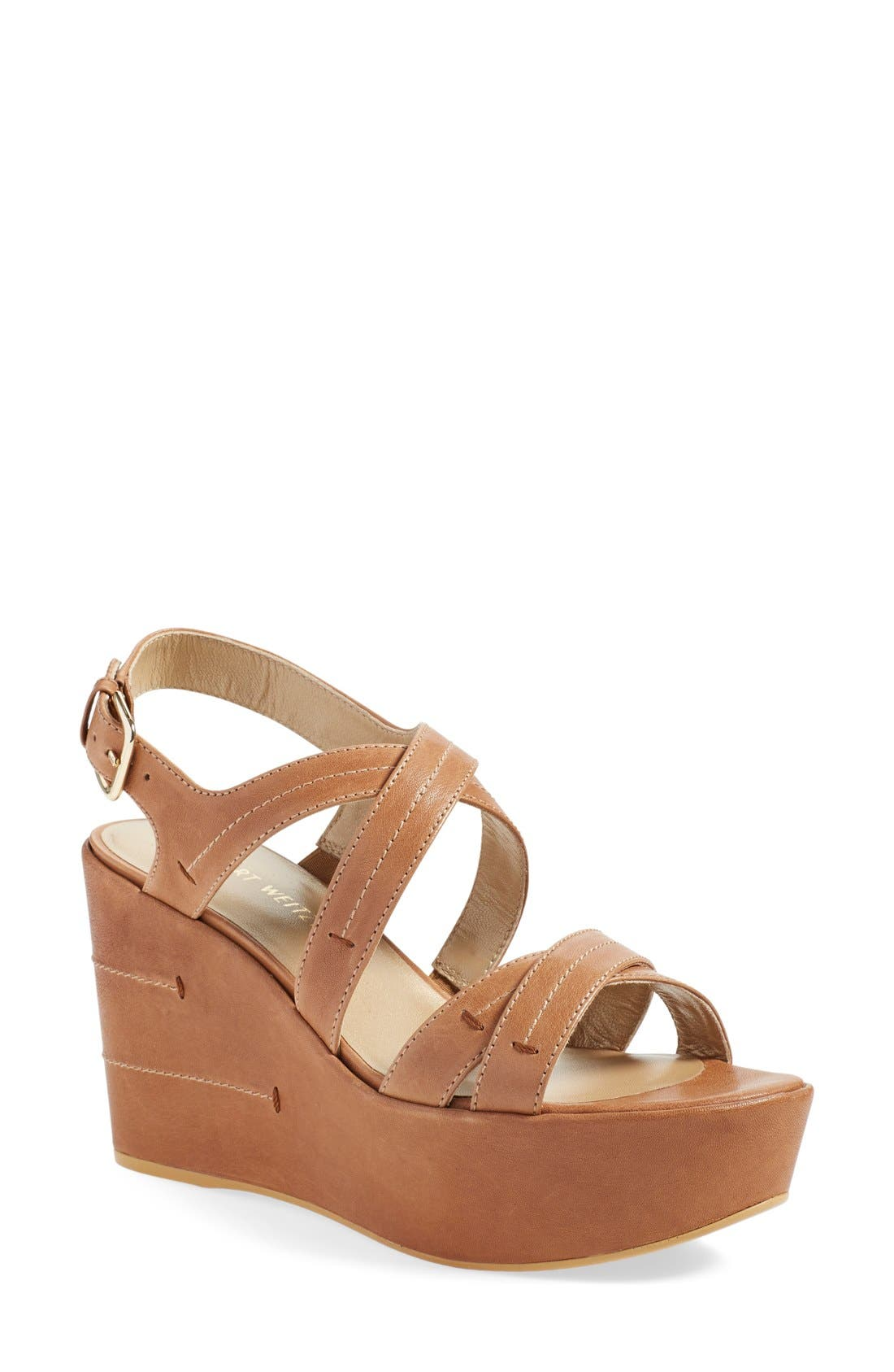Alternate Image 1 Selected - Stuart Weitzman 'Doublexing' Wedge Sandal (Women)