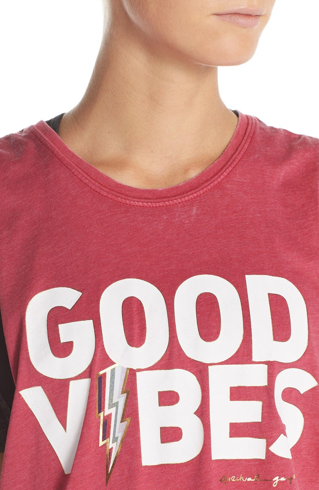 'Good Vibes' Muscle Tank,                             Alternate thumbnail 3, color,                             Popsicle