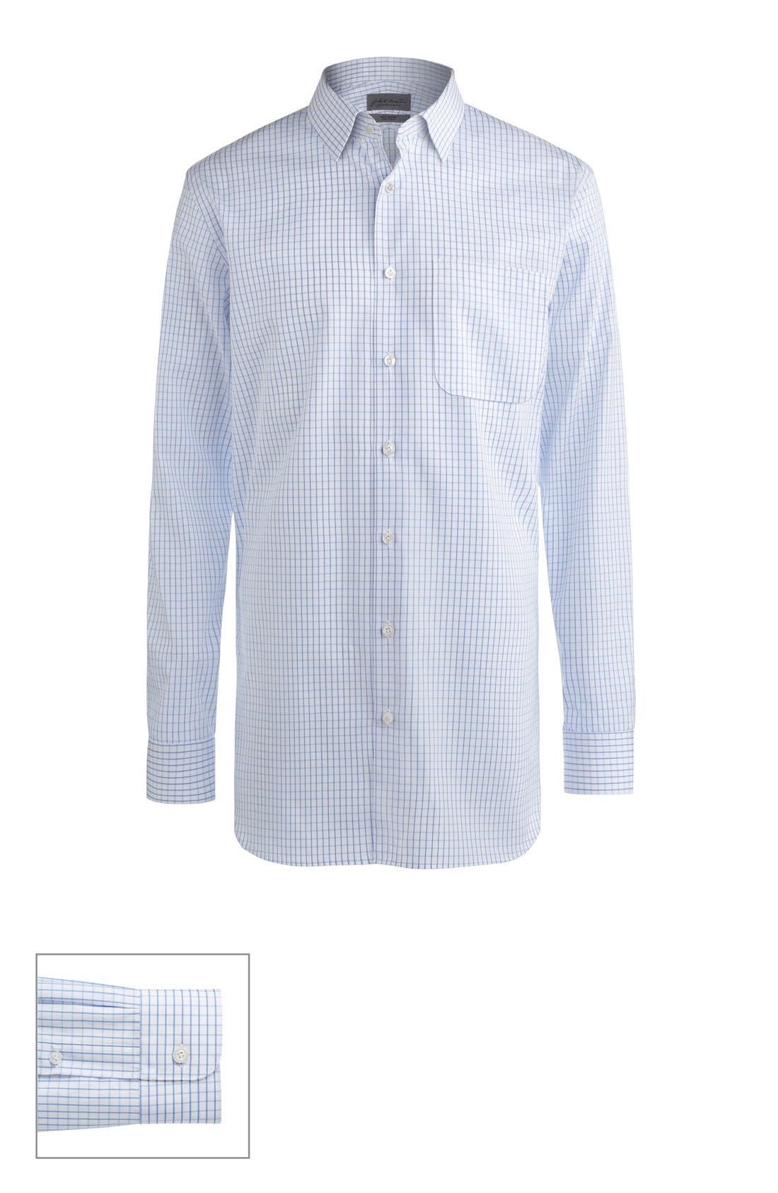 Made to Measure Extra Trim Fit Straight Collar Dobby Plaid Dress Shirt,                         Main,                         color, Blue Graphic Check