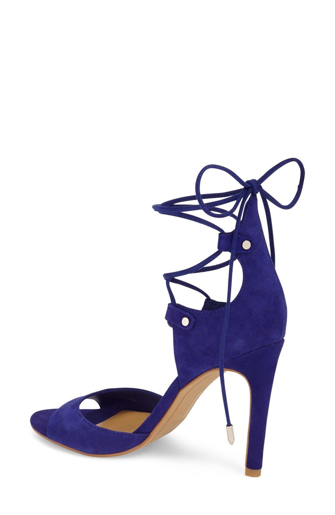 'Hazely' Lace-Up Sandal,                             Alternate thumbnail 2, color,                             Blue Suede