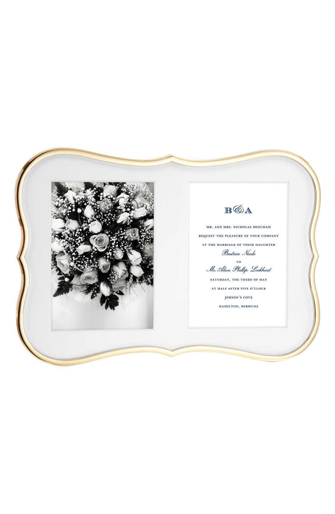 'crown point' invitation bridal picture frame,                         Main,                         color, Gold