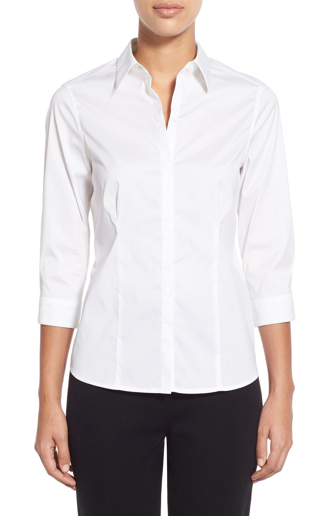 Alternate Image 1 Selected - Ming Wang Stretch Poplin Shirt