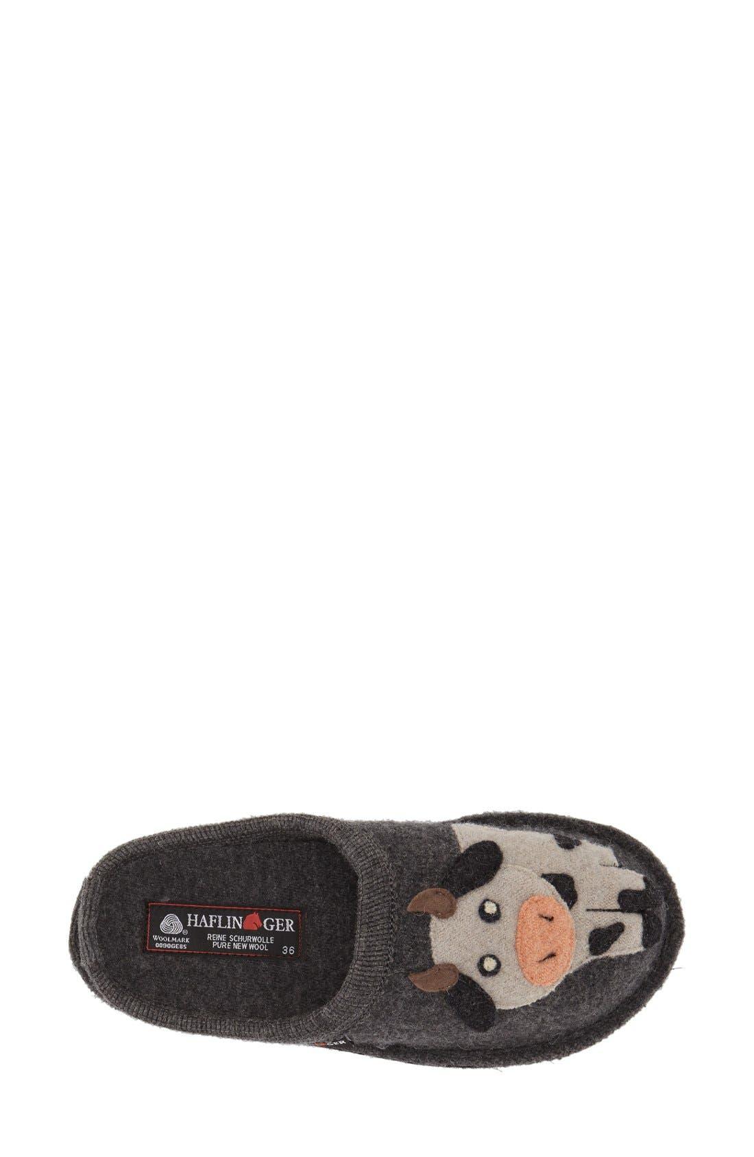 'Cow' Slipper,                             Alternate thumbnail 4, color,                             Grey Wool