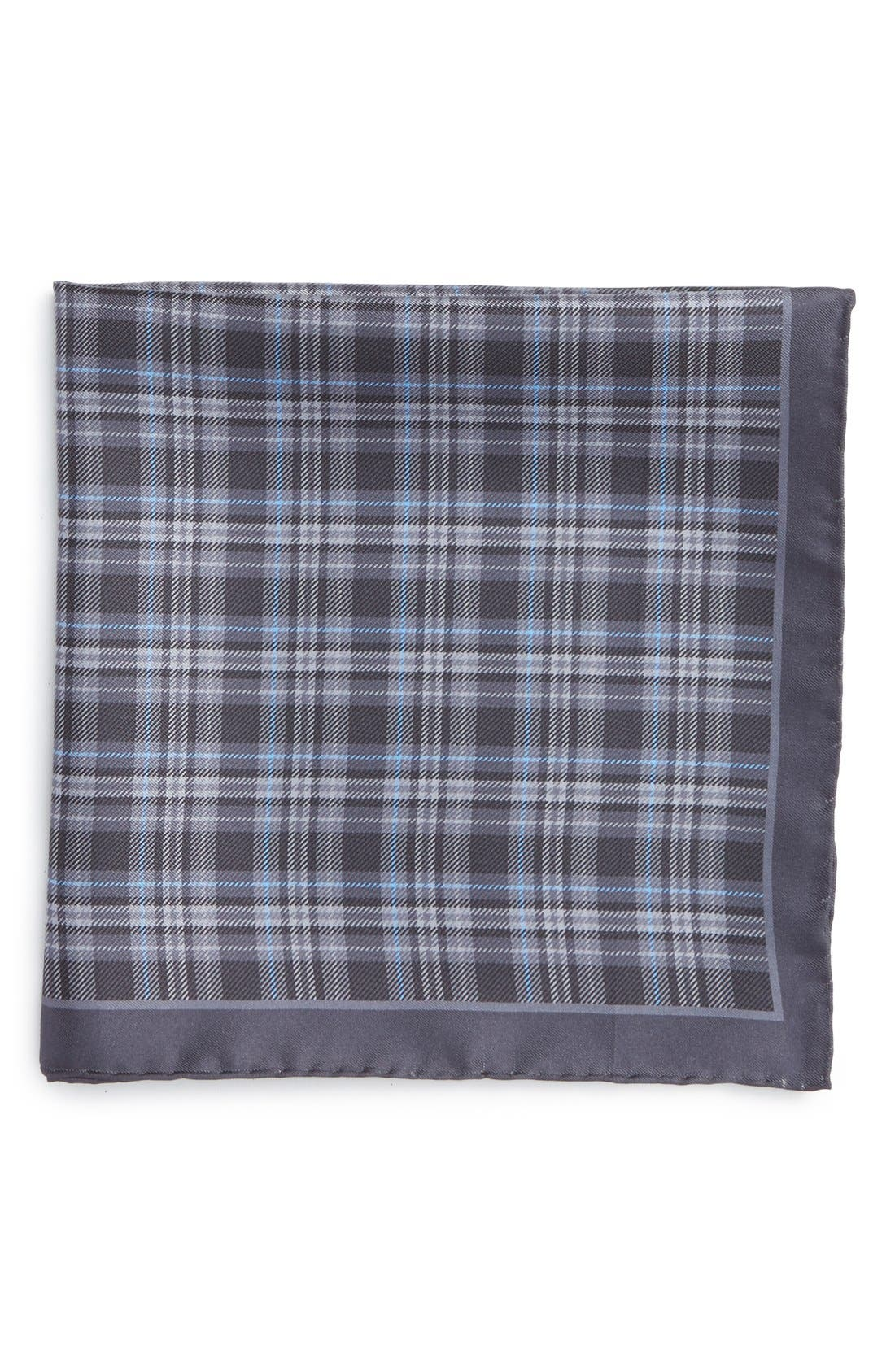 Robert Talbott Plaid Silk Pocket Square