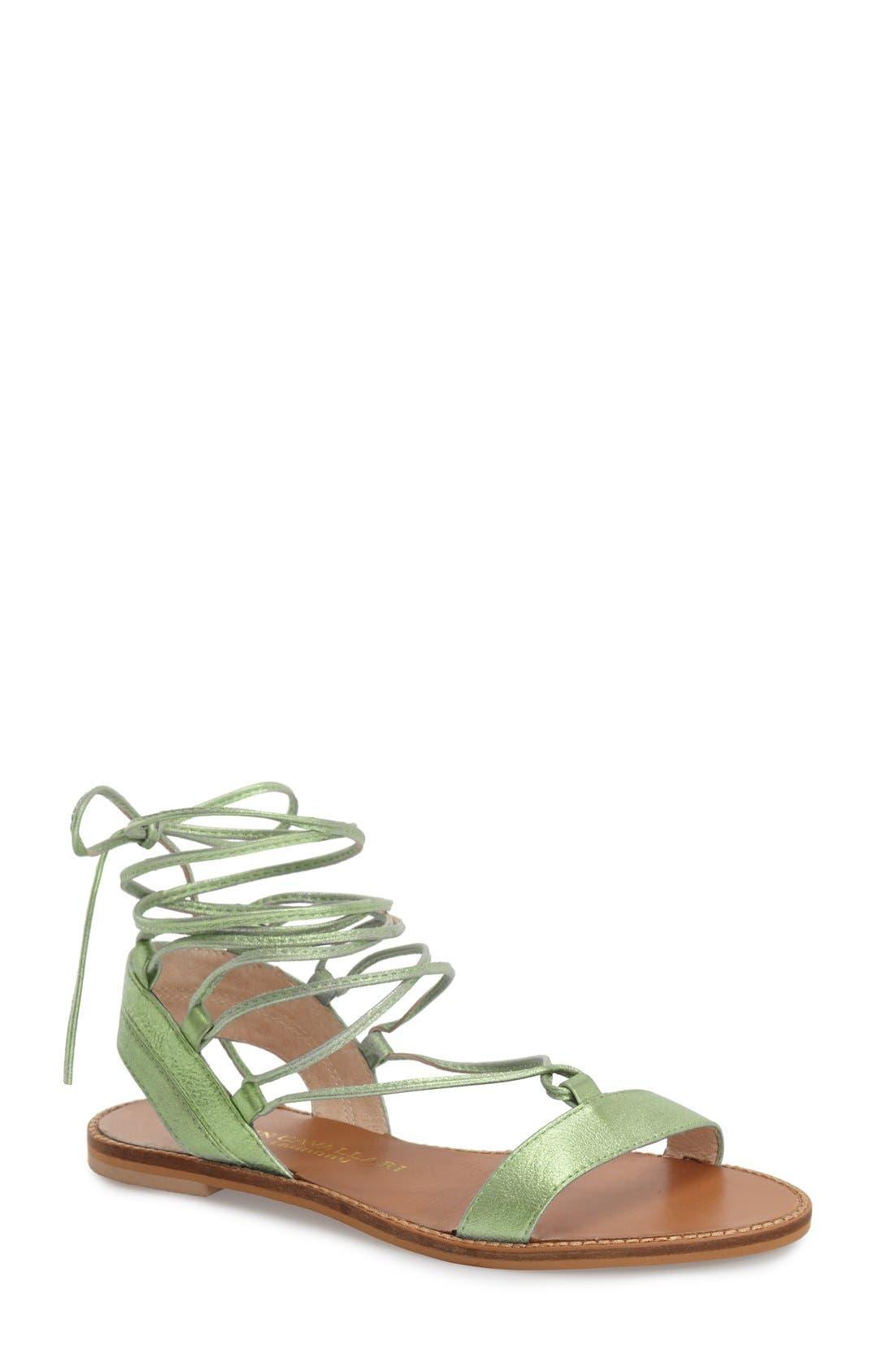 'Belle' Lace-Up Sandal,                             Main thumbnail 1, color,                             Mint Leather