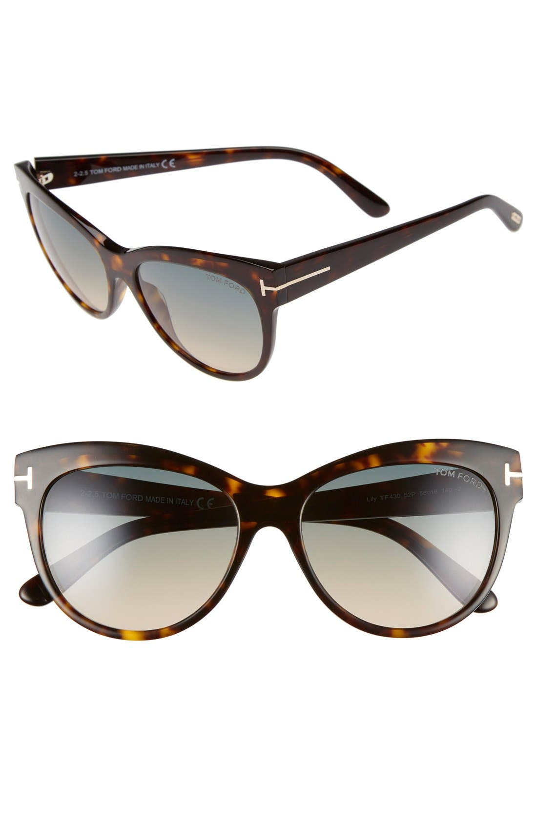 TOM FORD Lily 56mm Cat Eye Sunglasses