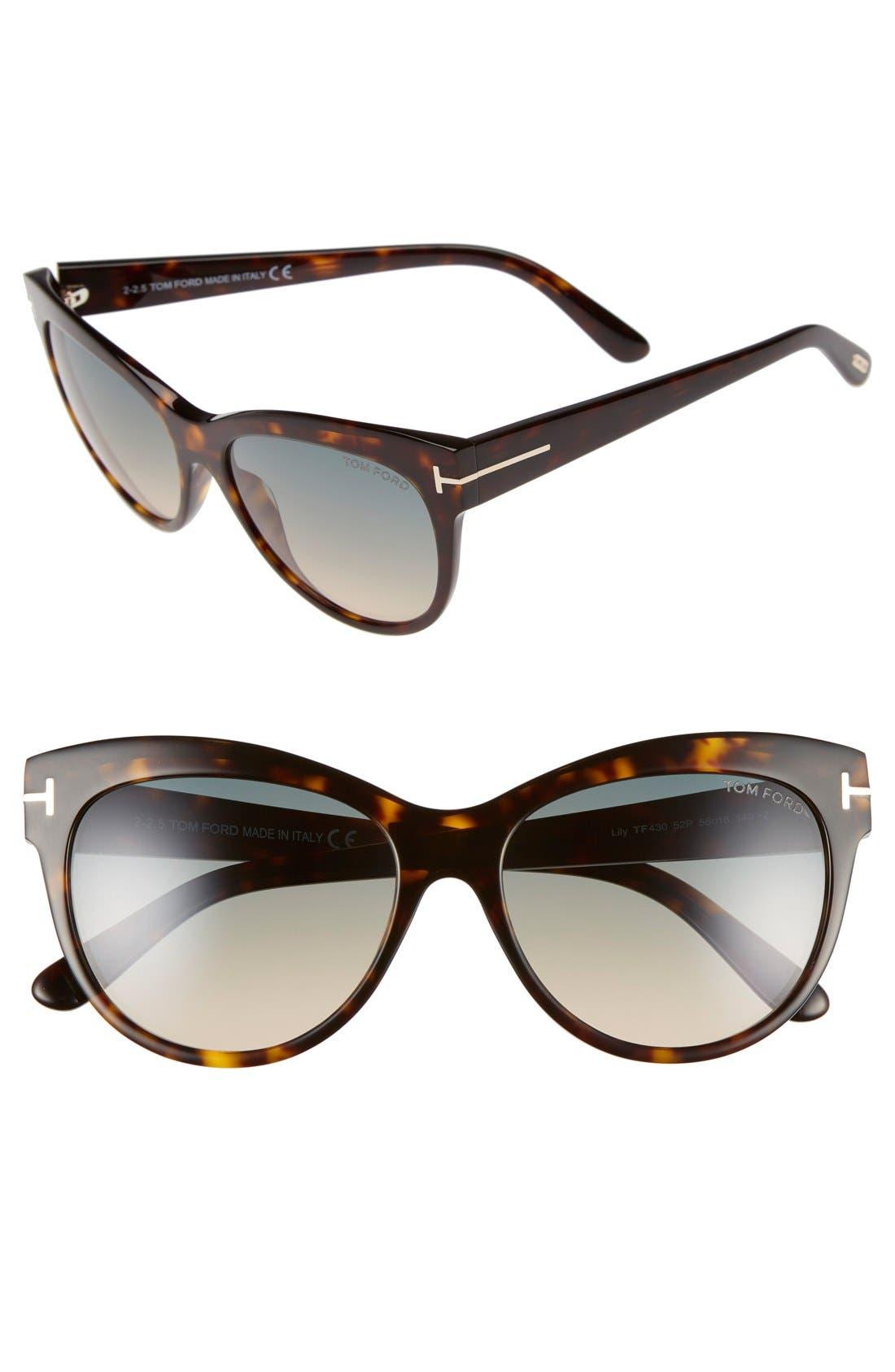 TOM FORD Lily 56mm Cat Eye Sunglasses