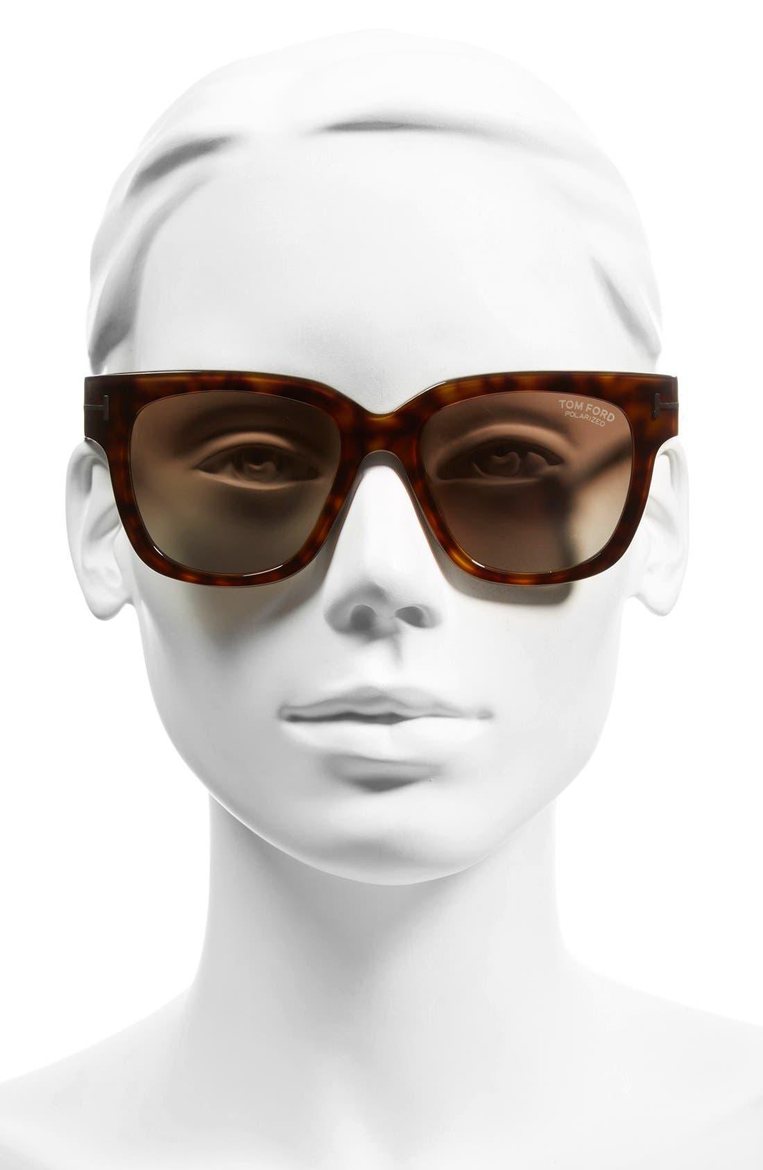 'Tracy' 53mm Retro Sunglasses,                             Alternate thumbnail 2, color,                             Havana/ Brown Polarized