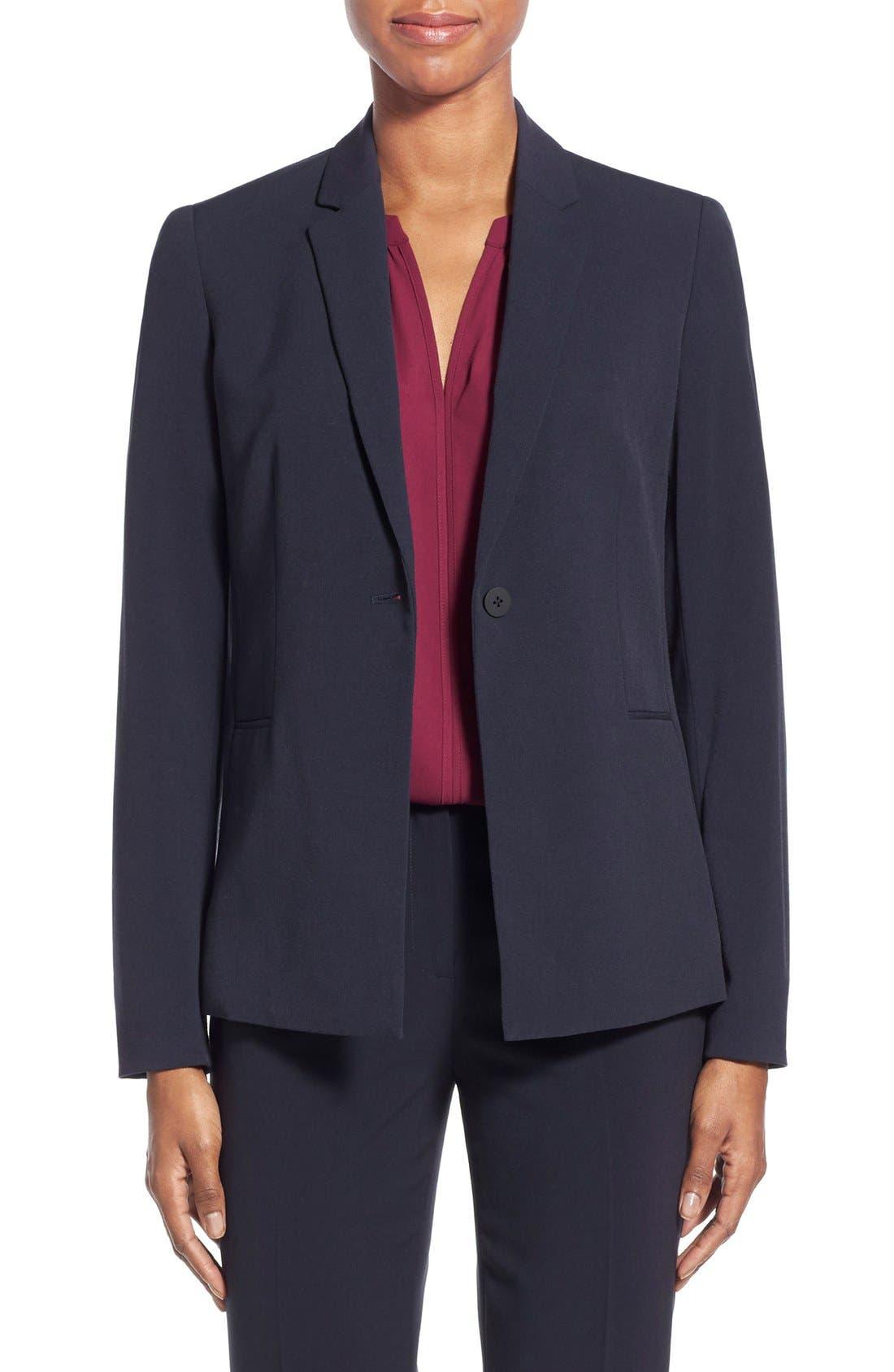 Jolie Stretch Woven Suit Jacket,                         Main,                         color, Navy