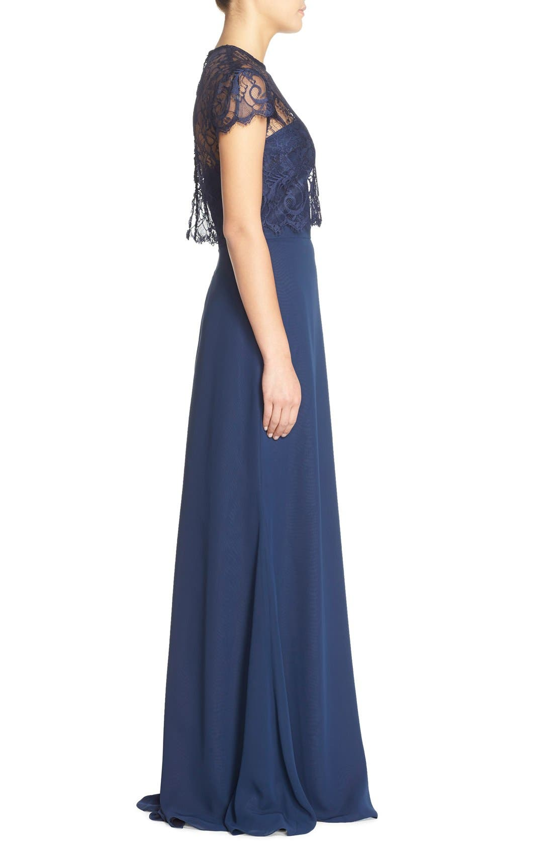 Strapless Chiffon A-Line Gown with Removable Lace Overlay,                             Alternate thumbnail 3, color,                             Navy