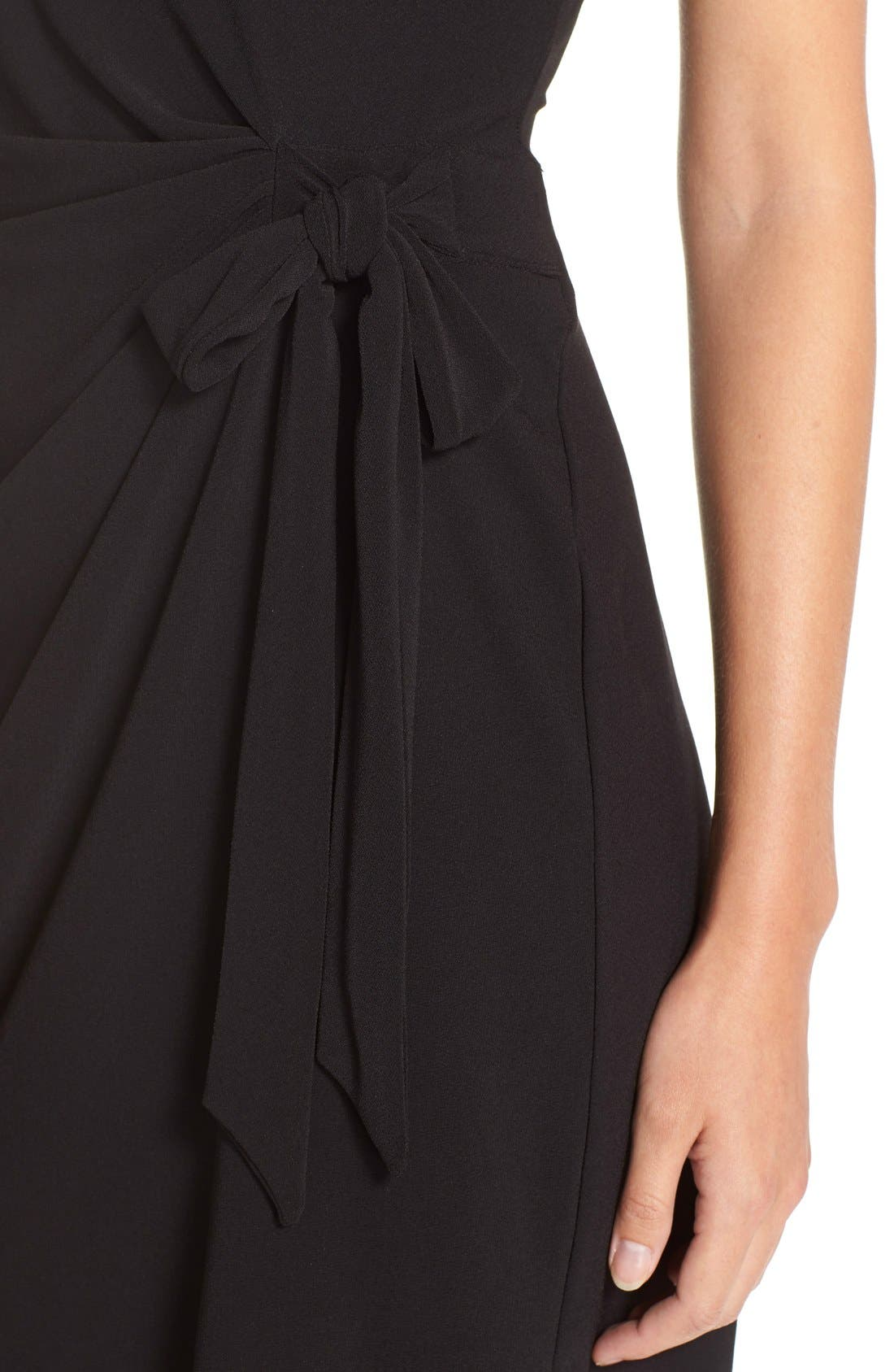 Side Tie Jersey Sheath Dress,                             Alternate thumbnail 5, color,                             Black
