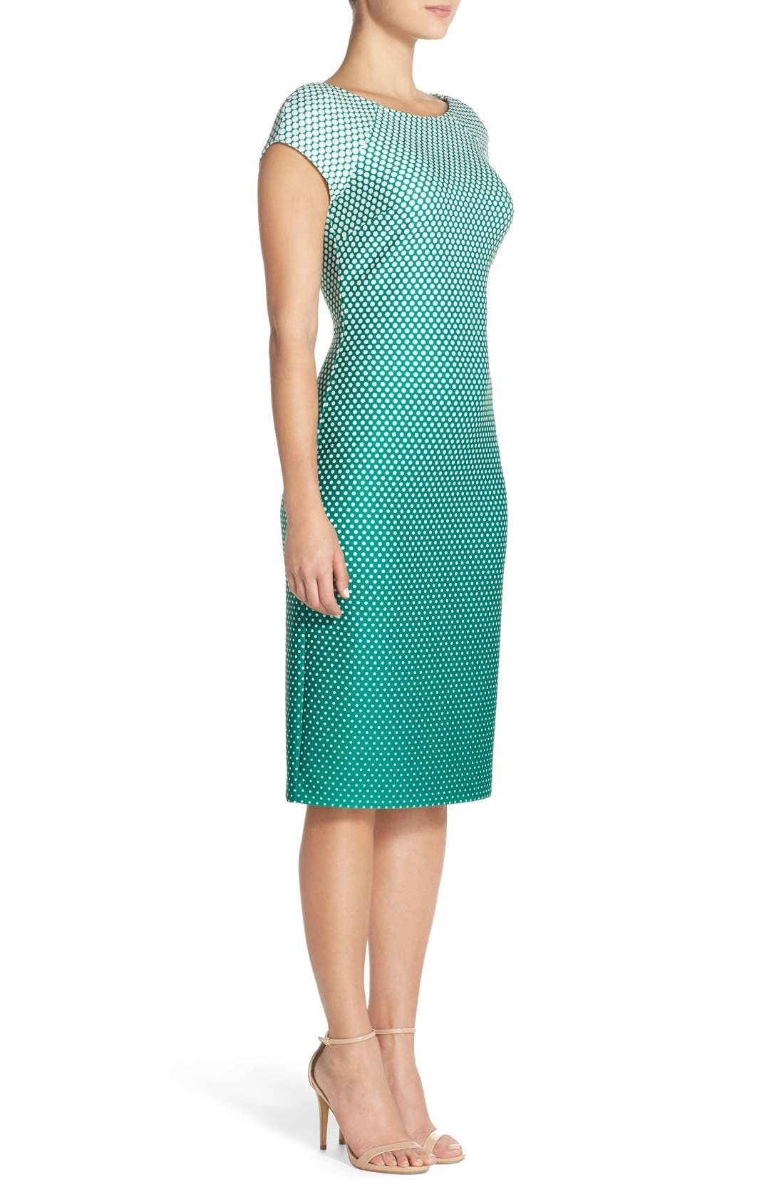 Alternate Image 3  - ECI Ombré Polka Dot Scuba Midi Sheath Dress