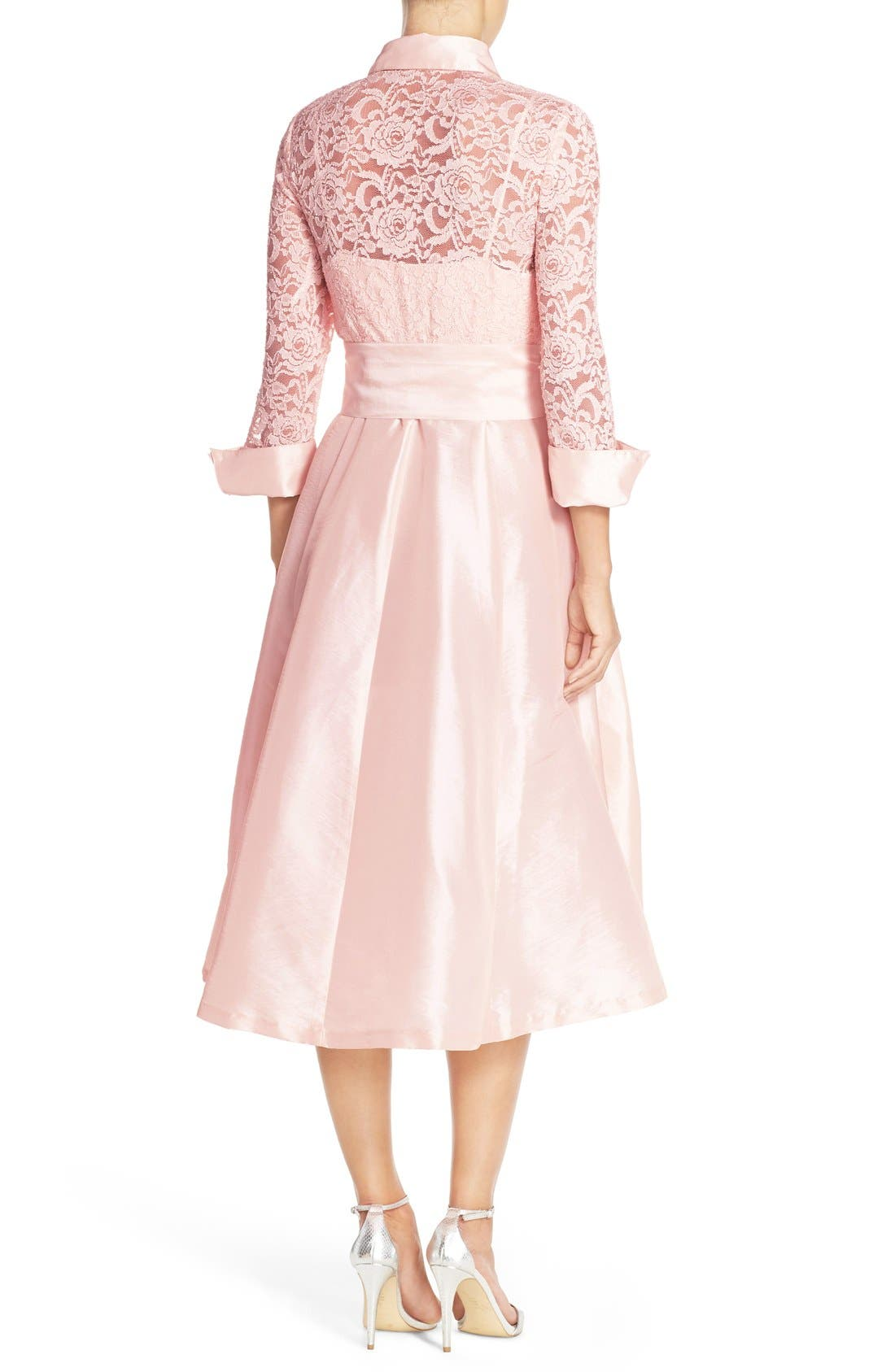 Belted Lace & Taffeta Point Collar Midi Dress,                             Alternate thumbnail 2, color,                             Blush