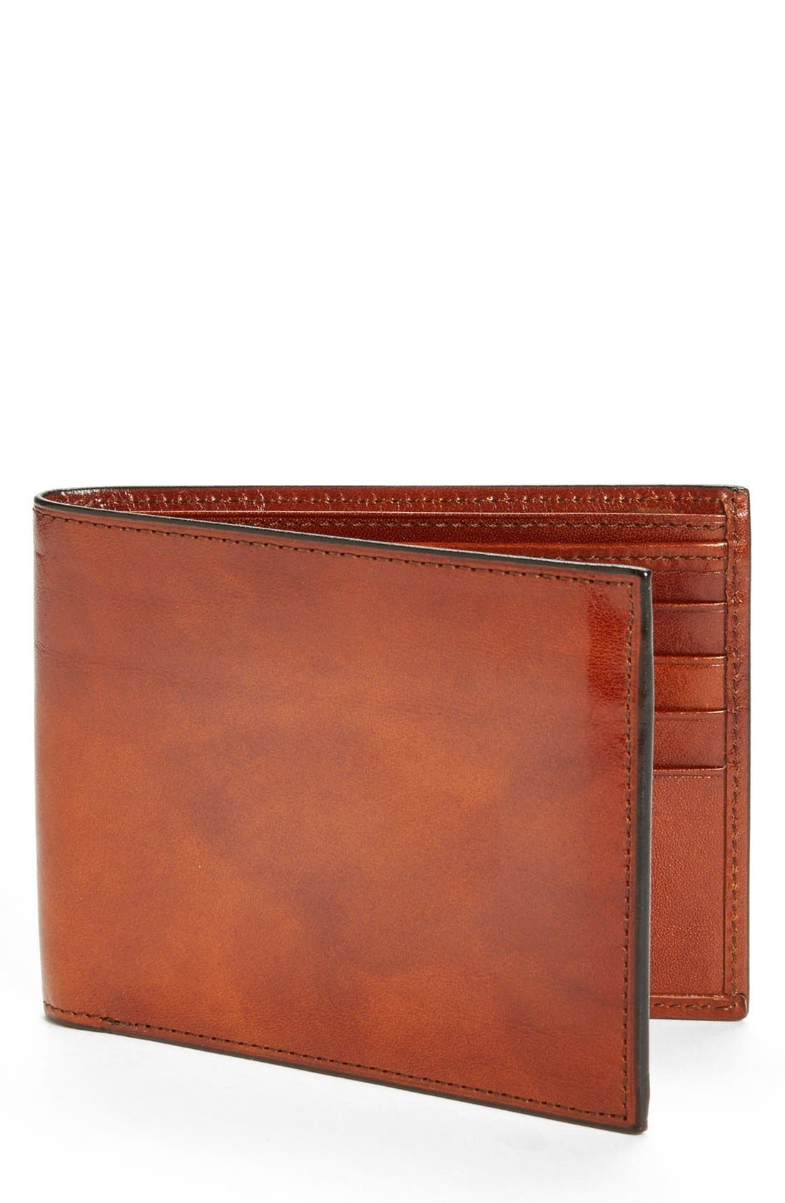 ID Flap Leather Wallet,                         Main,                         color, Amber