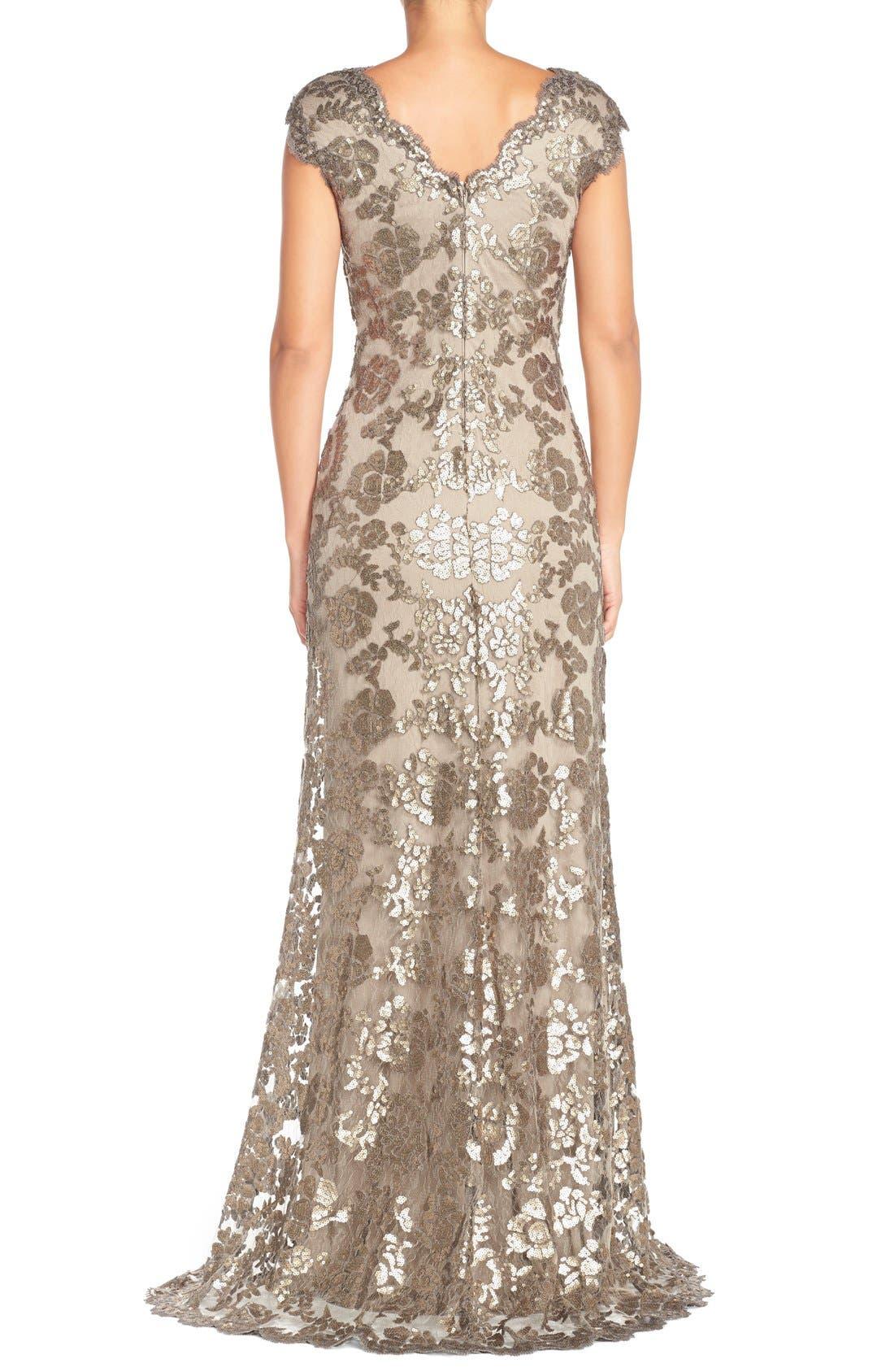 Alternate Image 2  - Tadashi Shoji Sequin Lace Gown (Regular & Petite)
