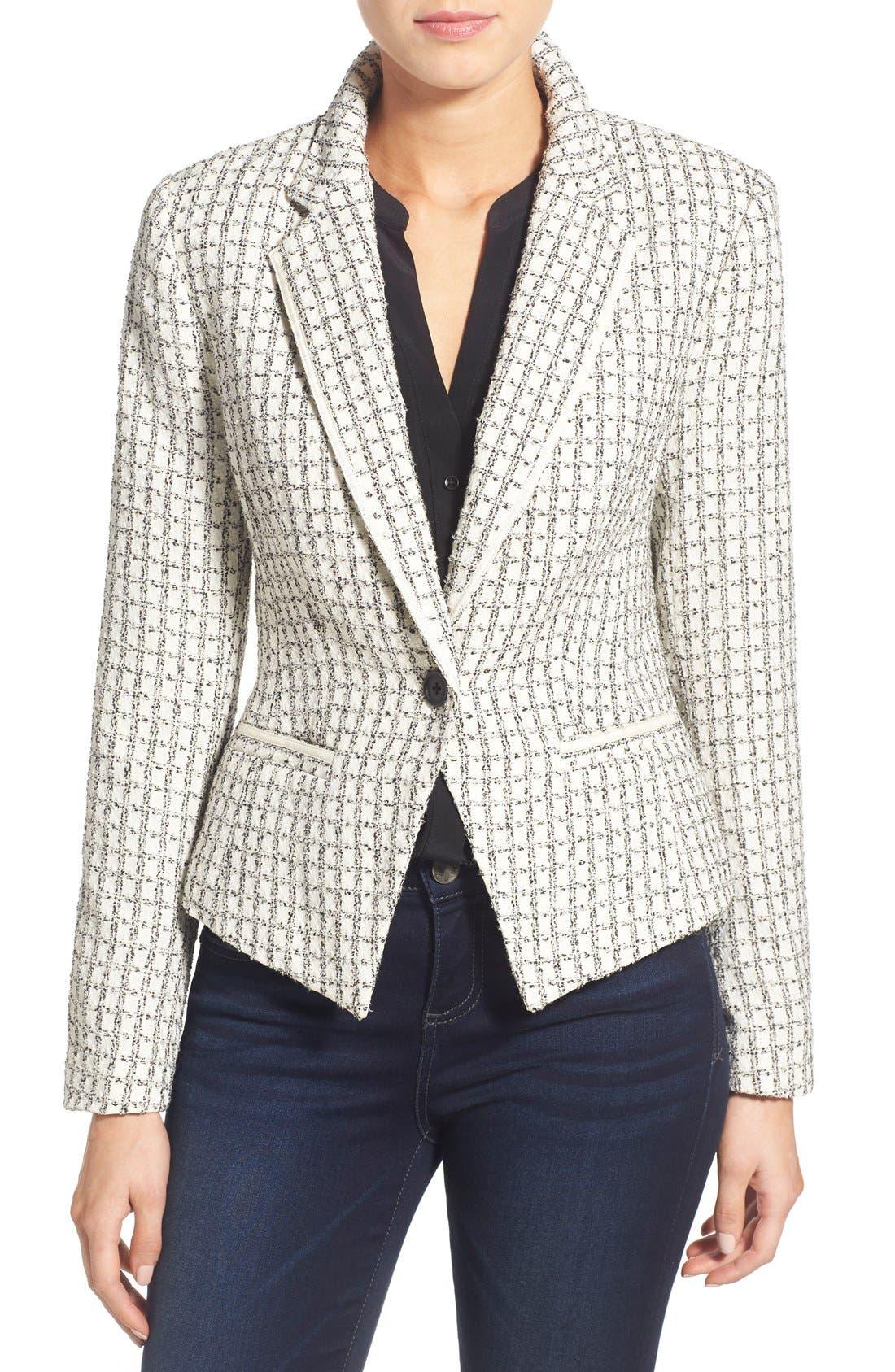Alternate Image 1 Selected - Halogen® Textured One-Button Blazer (Regular & Petite)