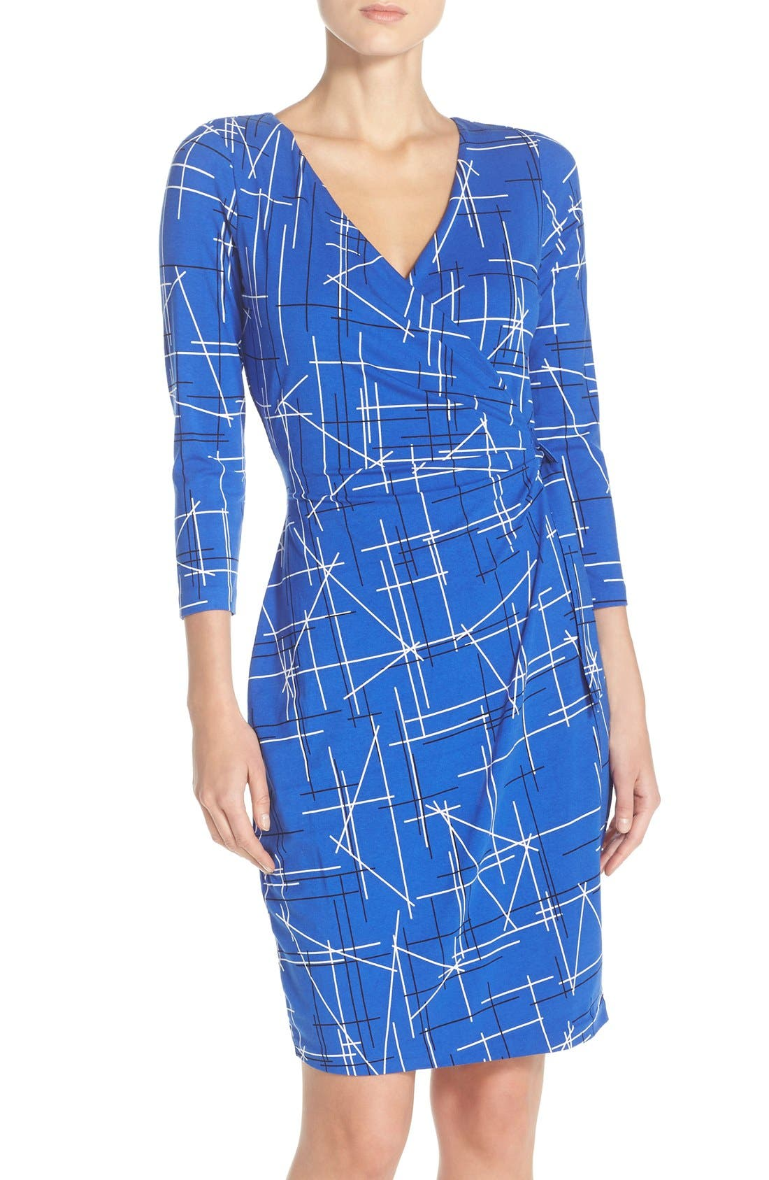 Print Faux Wrap Dress,                             Alternate thumbnail 4, color,                             Electric Triangles Print
