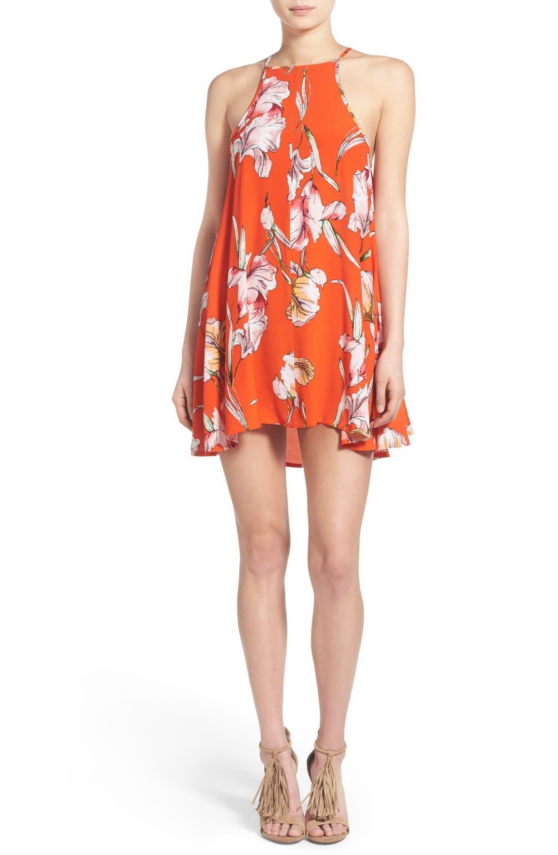 Alternate Image 1 Selected - MINKPINK 'Tangerine Dream' Floral Print Swing Dress