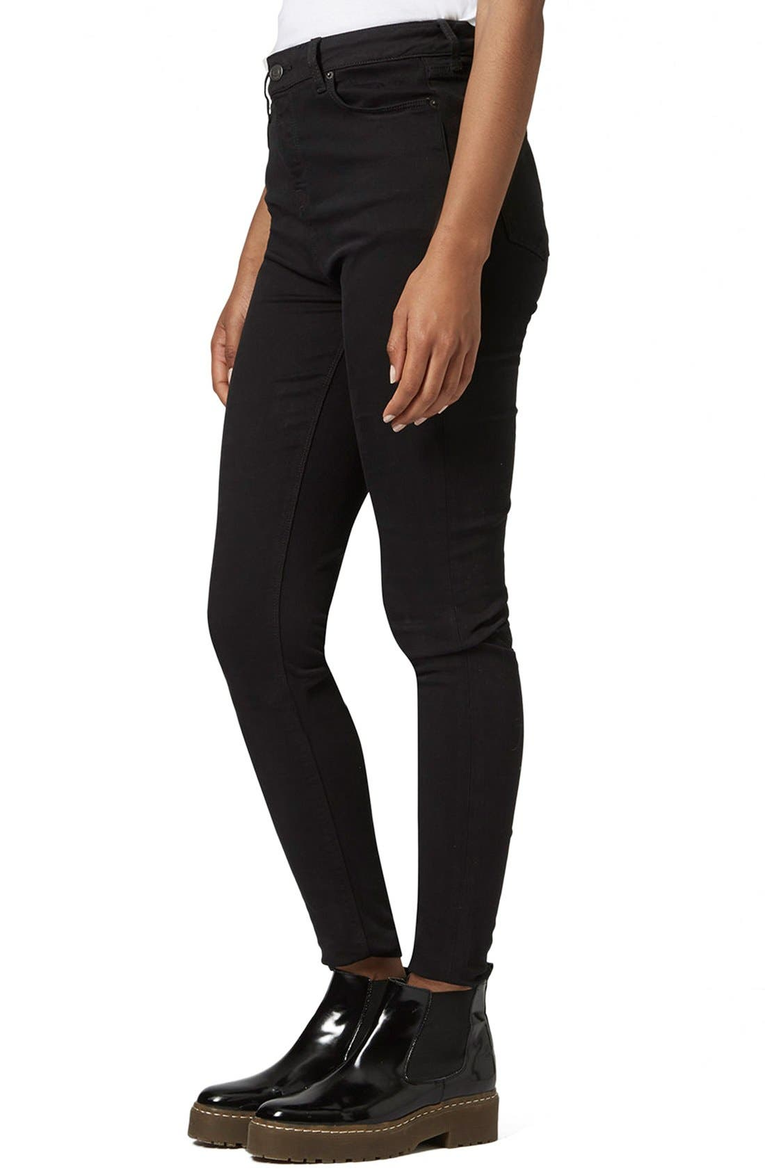 Main Image - Topshop Moto 'Jamie' High Rise Skinny Jeans (Black) (Tall)
