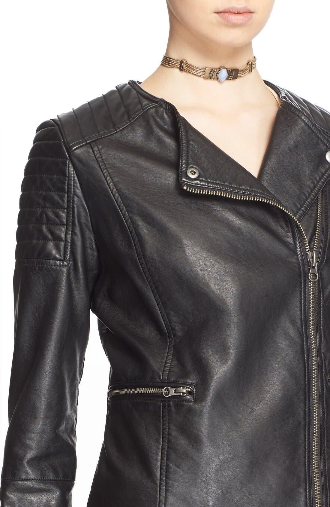 'Exclusive' Faux Leather Jacket,                             Alternate thumbnail 4, color,                             Black