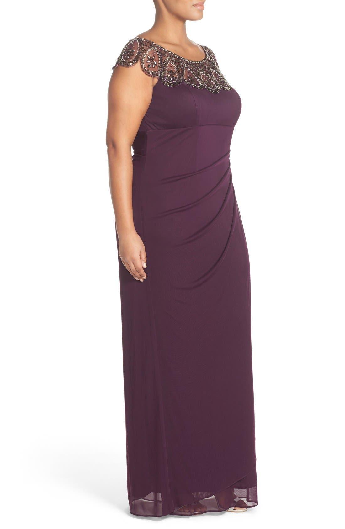 Alternate Image 3  - Xscape Beaded Neck Empire Gown (Plus Size)