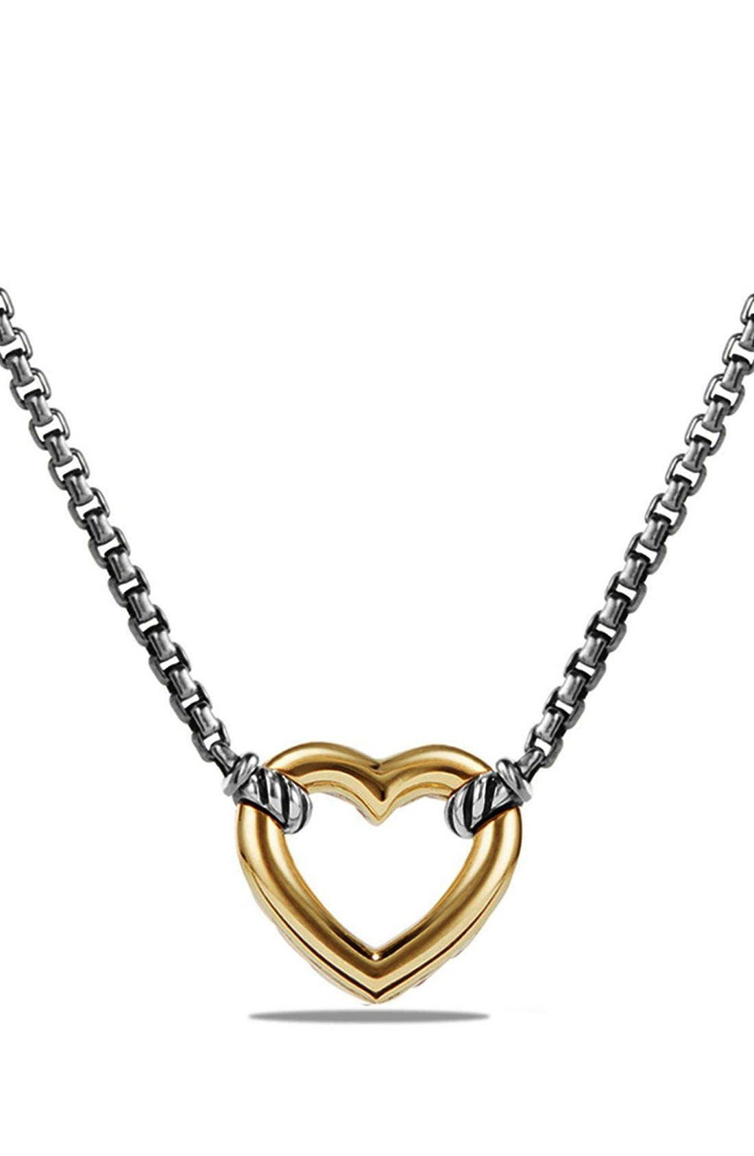 'Cable Collectibles' Heart Station Necklace with 18K Gold,                         Main,                         color, Silver/ Gold