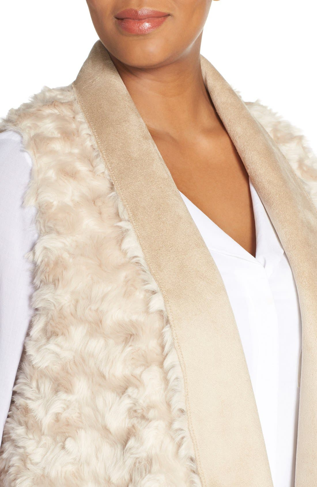 'Sheri' Drape Front Faux Fur Vest,                             Alternate thumbnail 4, color,                             Light Taupe