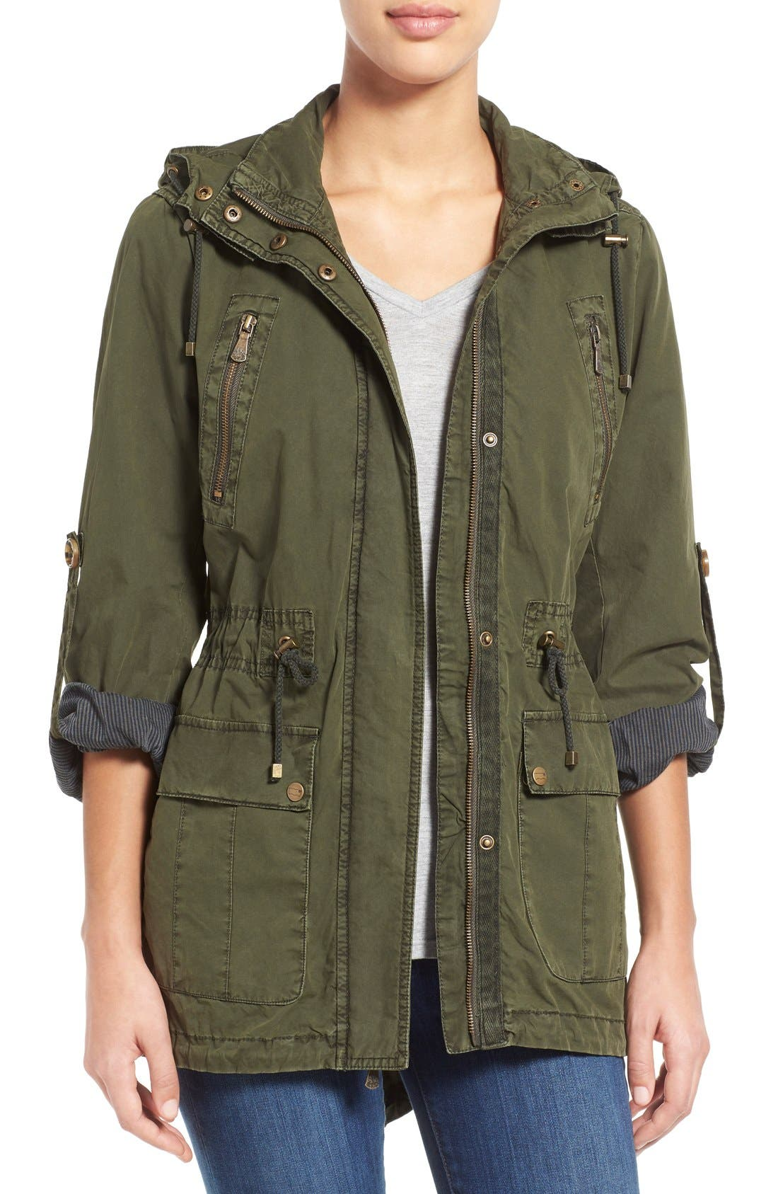 Parachute Hooded Cotton Utility Jacket,                         Main,                         color, Army Green