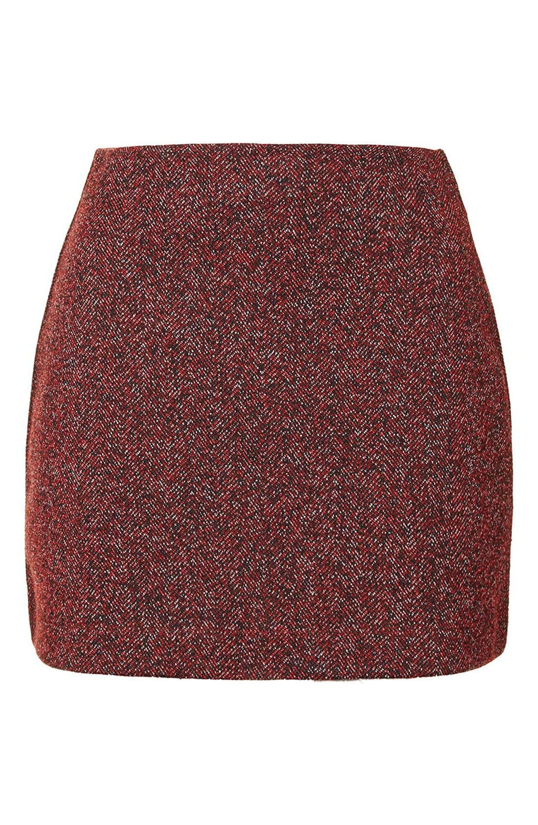 Alternate Image 4  - Topshop Marled Herringbone Miniskirt