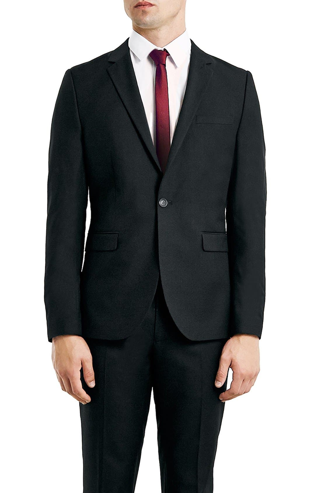 Main Image - Topman Skinny Fit Black One-Button Suit Jacket
