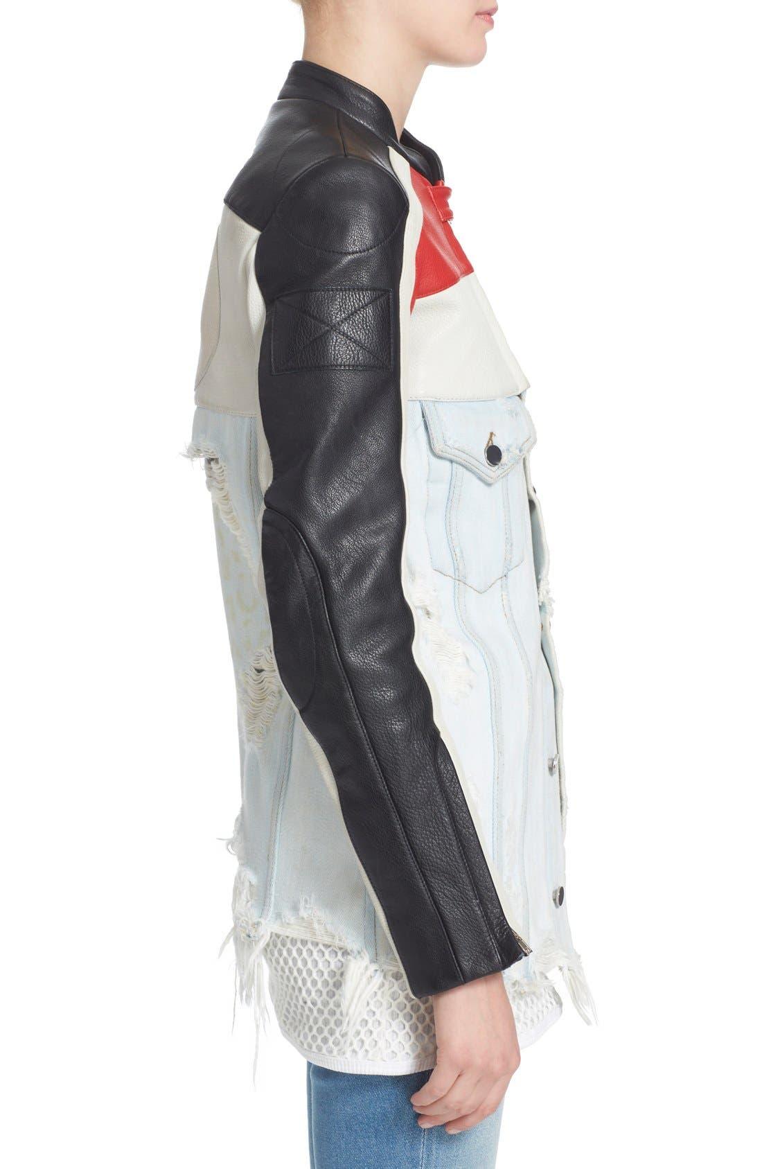 Hybrid Moto & Denim Jacket,                             Alternate thumbnail 6, color,                             Black