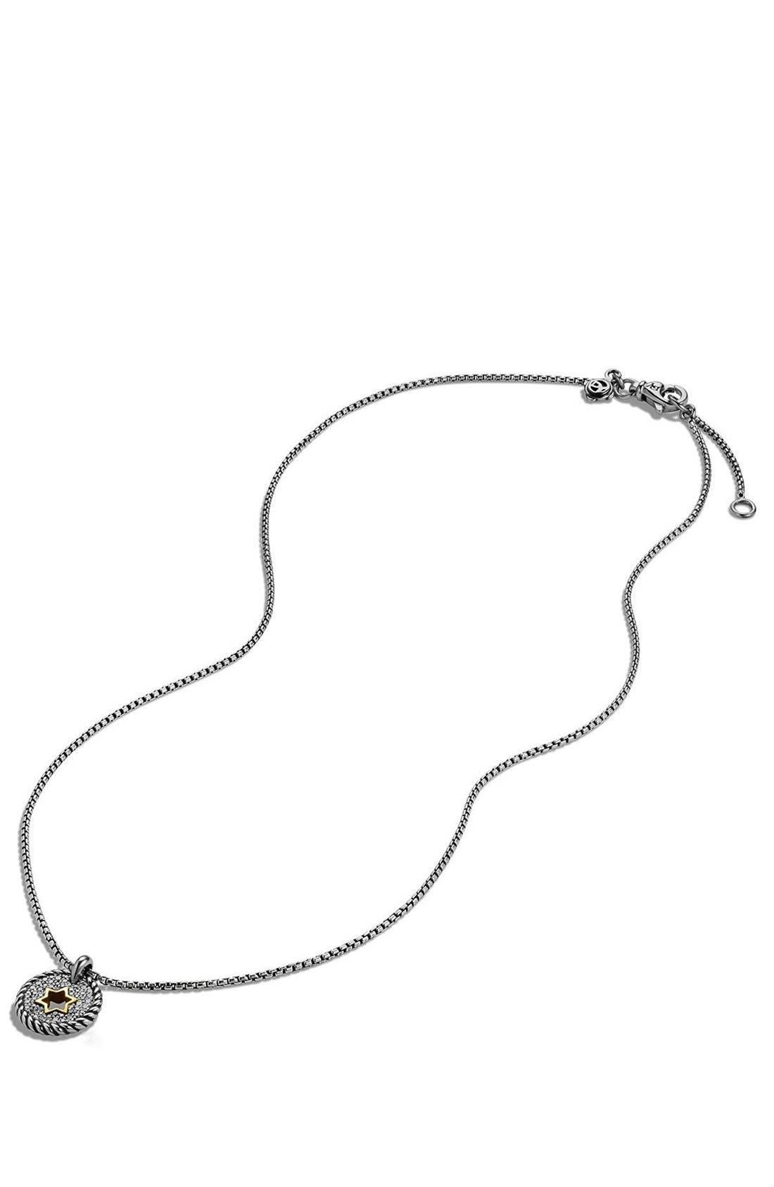 'Pettie Pavé' Star of David Pendant Necklace,                             Alternate thumbnail 3, color,                             Silver
