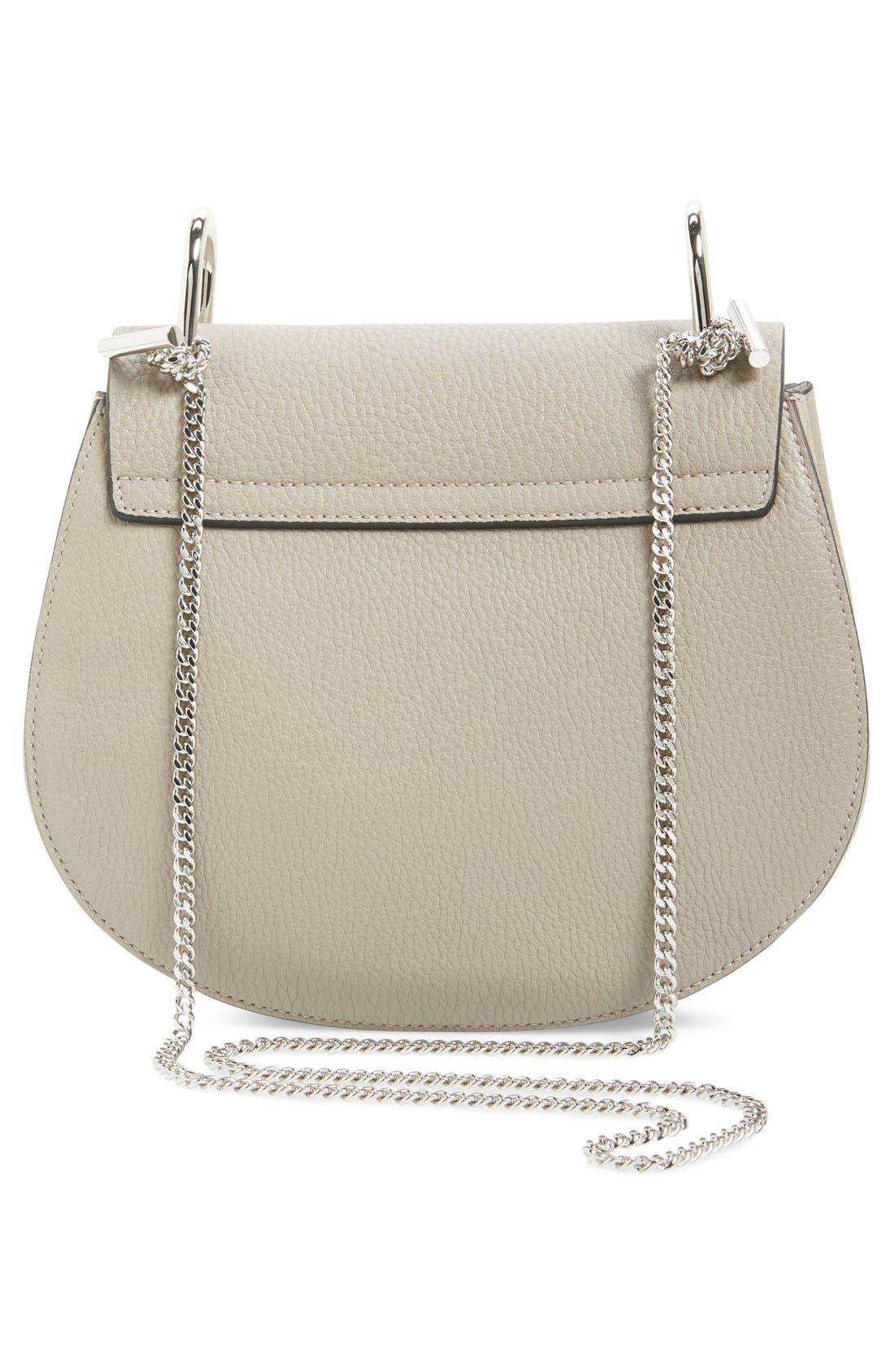 'Small Drew' Leather Shoulder Bag,                             Alternate thumbnail 3, color,                             Motty Grey