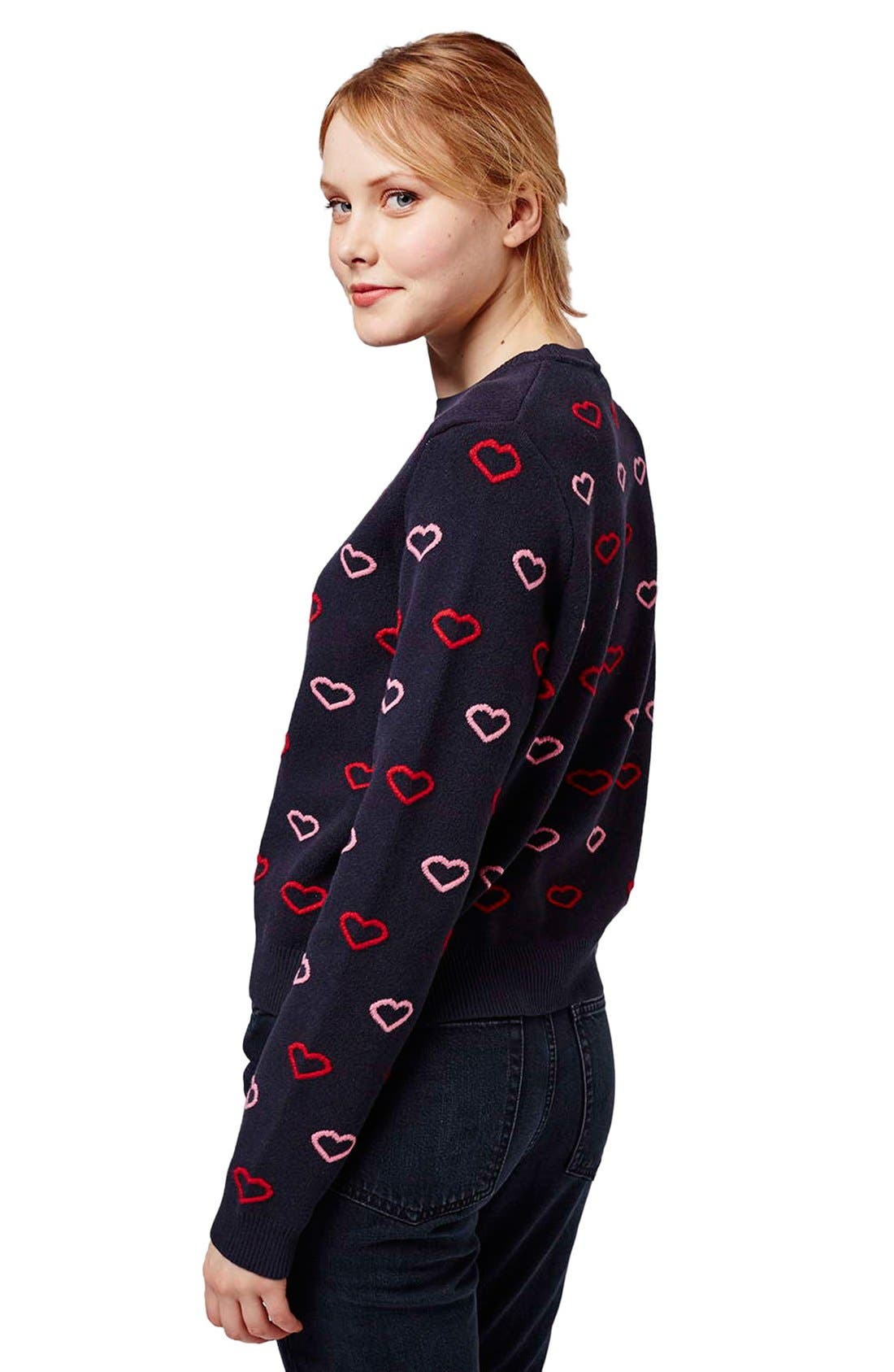 Alternate Image 3  - Topshop Embroidered Heart Sweater