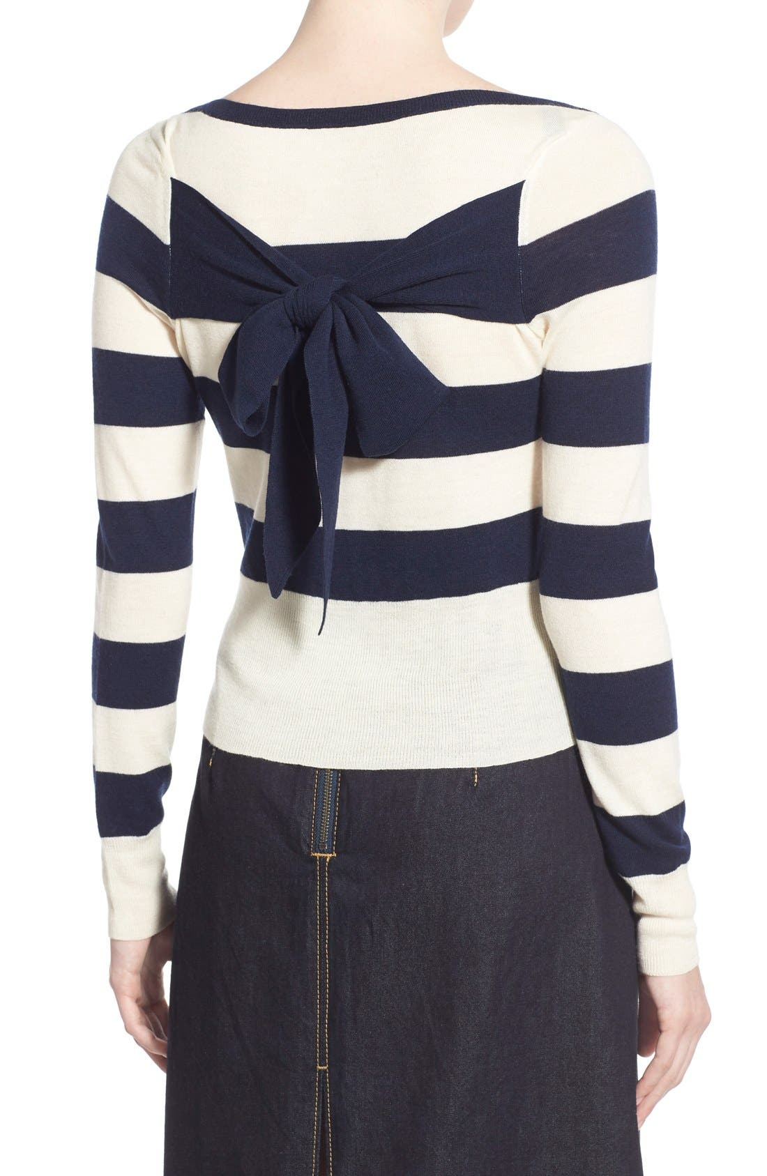Alternate Image 2  - Olivia Palermo + Chelsea28 Stripe Wool & Cashmere Pullover