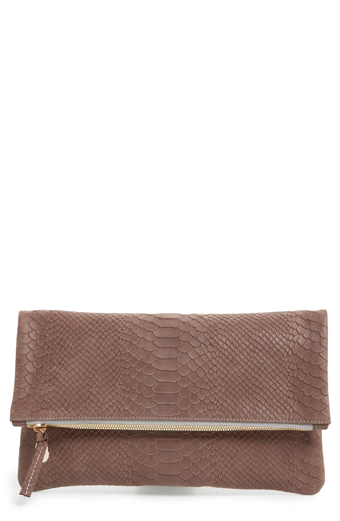 Snake Embossed Leather Foldover Clutch,                             Main thumbnail 1, color,                             Taupe Snake Nubuck