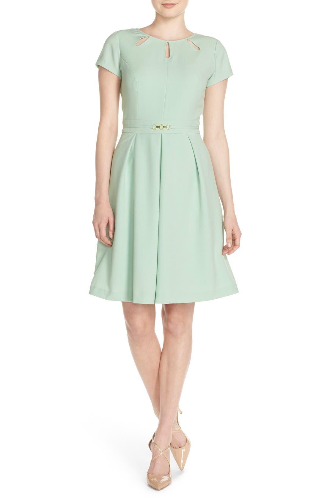 Cutout Neck Fit & Flare Dress,                         Main,                         color, Mint